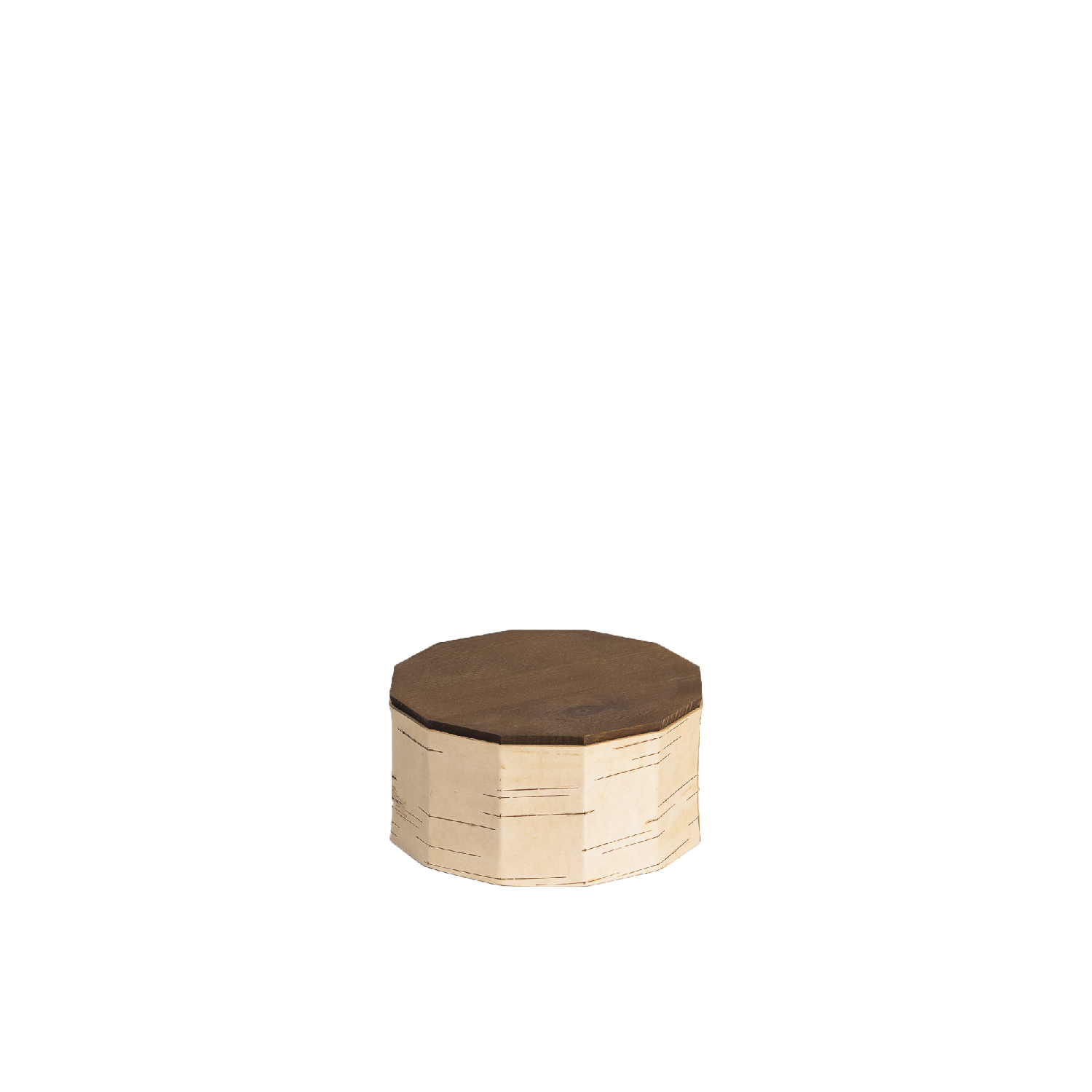 Tuesa Cookie Box - Antibacterial, insulating, water-resistant and particularly light birch bark containers keep foodstuffs fresh for longer and are incredibly durable while being low maintenance at the same time. Our Cookie box is best suited for storing biscuits, self-baked sweets, dried fruit or any delicacies, that should stay crispy and tasty. They are also perfect for serving and presenting.  Tuesa guarantees a non-slip warm surface and a secure grip even when wet – you can even rinse them with water if needed. Birch bark is characterised above all by its robustness and extreme longevity, whilst not requiring any maintenance. Products made from it bring joy for a long time and can be passed down through generations as heirlooms.  Height 10 cm | ø 19 cm Birch bark, pine wood Surface: water-based wood stain, bees wax | Matter of Stuff