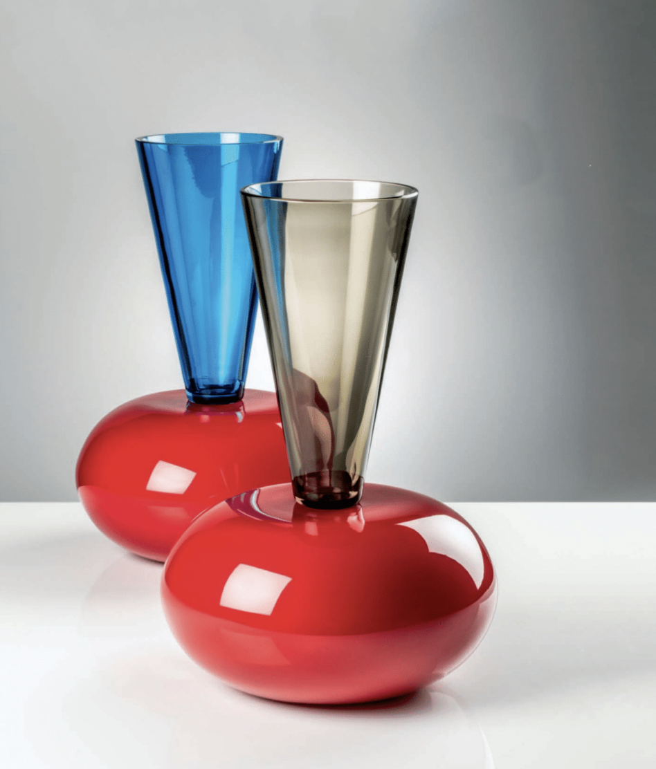 Puzzle Vase - Architecture turns into design. Magnificence turns into elegance. Coral meets Aquamarine, then it blends into Grey. This glass creation by Ettore Sottsass has a soul and a strong character | Matter of Stuff