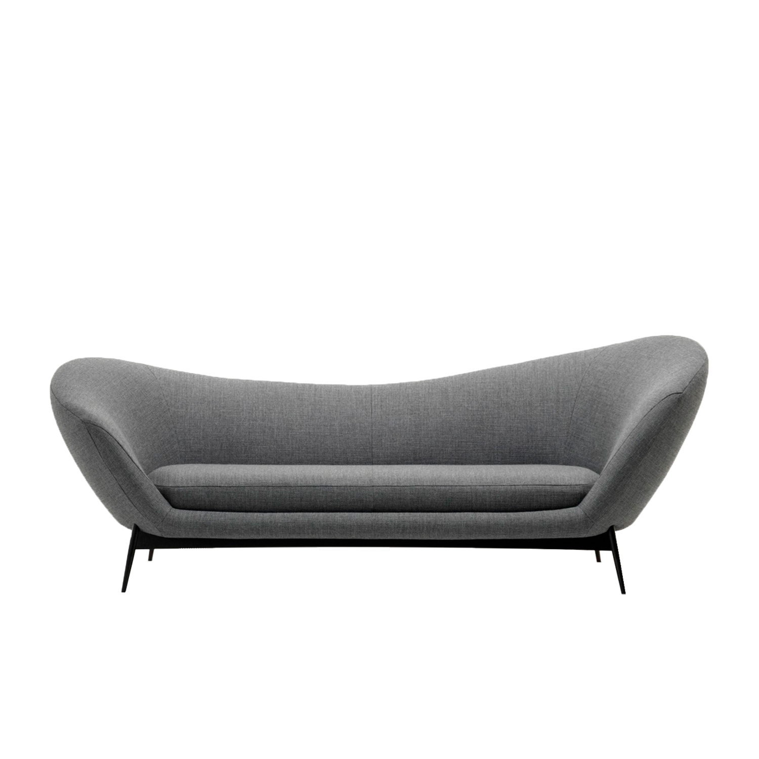 """Oltremare Sofa - Within its 225cm, Oltremare sofa offers a sweet stylistic landscape and, despite itscontained dimensions, it allows for various seating solutions – some unexpected – allextremely comfortable, a characteristic that makes it perfect ergonomically. Its seat issoft and the backrest, rigid at first glance, is in fact very welcoming.  The seating collection """"Oltremare"""" designed by Antonio Marras and produced incollaboration with Saba, stems from a far-away past and place, full of history,recollection, memories overflowing with suggestions and visions. By observing itssinuous silhouette, who boosts Sardinian origins, can even catch sight of a familiarpromontory and a small island, a fragment of the coast that in ancient times separateditself from the main land. A sofa can accompany us along the fascinating journey of our life, """"it becomes one of us,a friend staying over, staying so well that he doesn't want to leave"""". And this is how Antonio Marras presented an object so dear to him that he defines asacred-idol, that narrates of his land, of his sea, but mostly, of his story. We named it Oltremare, because all things have a soul and every soul has a name. Oltremare is a seating system that, even though winks at the past, it communicates astrong contemporary soul and is suitable by nature to various interpretations. Itseduces from any angle with its fascinating character, constantly offering a new senseof splendor.  Materials Structure in MDF with plywood base padded with variable density polyurethane foam covered with fine velvet coupled with resin 150gr/sqm. Feet in painted metal, 20cm heigh. The seat cushions are padded with variable-density polyurethane foam, covered with fine velvet coupled with resin 150gr/sqm. 