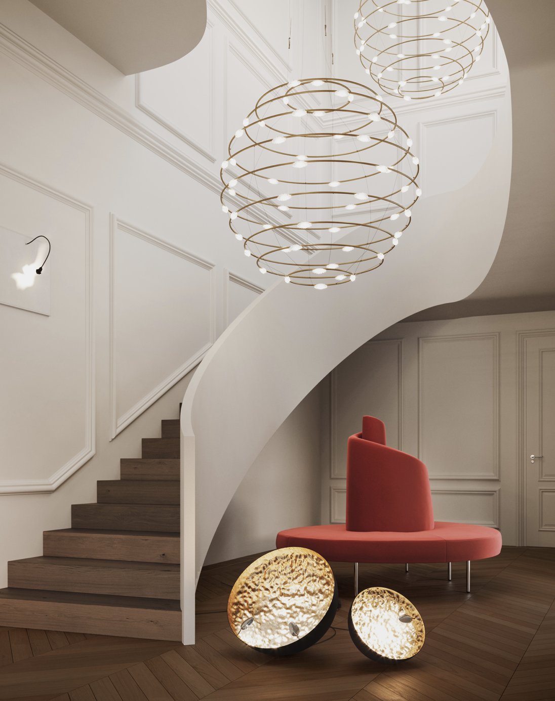 Stchu-Moon 01 Floor Lamp - Stchu-Moon separates the light source from the lighting object, which takes on its own aesthetic quality as a result. The light is refracted off deliberately irregular surfaces, which multiplies their quantity, making the entire object a glowing light. | Matter of Stuff