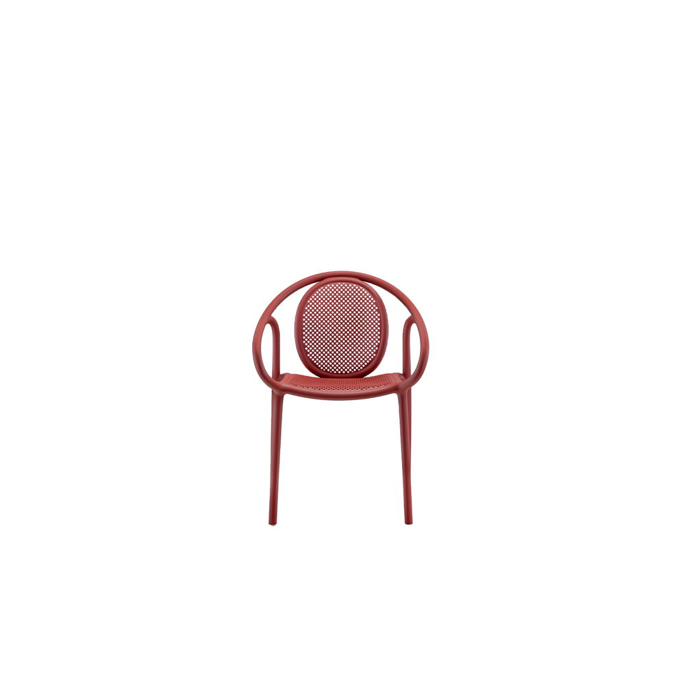 """Remind Armchair - The Remind armchair is a monoblock of injection- moulded polypropylene, that takes inspiration from the soft, sinuous curves of the wooden chairs of the late 19th century, reinterpreted in an innovative key. Functional, versatile and relatively small, this chair is suitable for both outdoor and indoor use thanks to the combination of harmonious lines and a lightweight yet solid material. Stackable up to 8 pieces.  Remind is also available in """"recycled grey"""" version upon request. It is one of the first Pedrali products made from recycled polypropylene: 50% from plastic material post-consumer waste and 50% from plastic material industrial waste.   Matter of Stuff"""