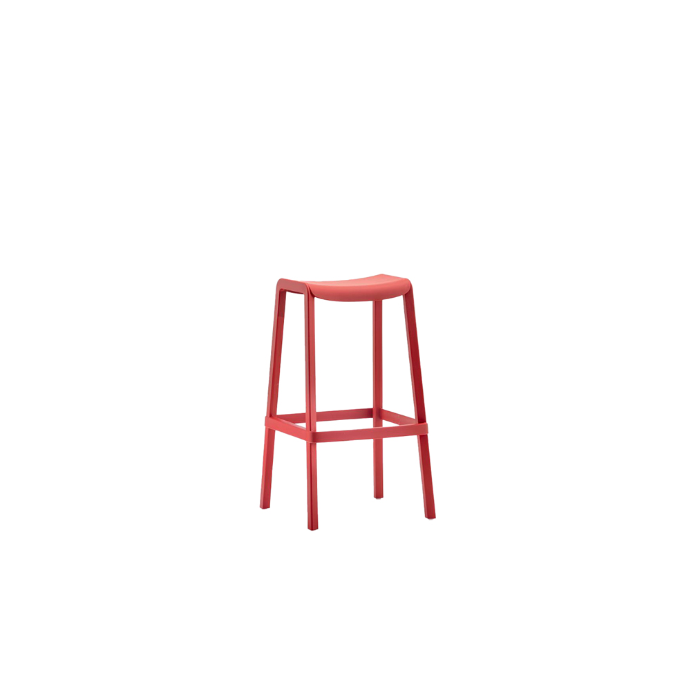 Dome Stool - The Dome stool represents the evolution of a collection able to alternate with a linear and rational structure elements with soft and curved shapes. A stool made entirely of glass fibre charged polypropylene, molded with air molding gas, with an innovative shape for the rectangular seat with rounded profiles, capable of guaranteeing an ergonomic seat, even with a saddle with a very limited depth.   This stool is suitable for both outdoor and indoor use. Stackable. Available in two heights: 65 cm and 75 cm.    Matter of Stuff
