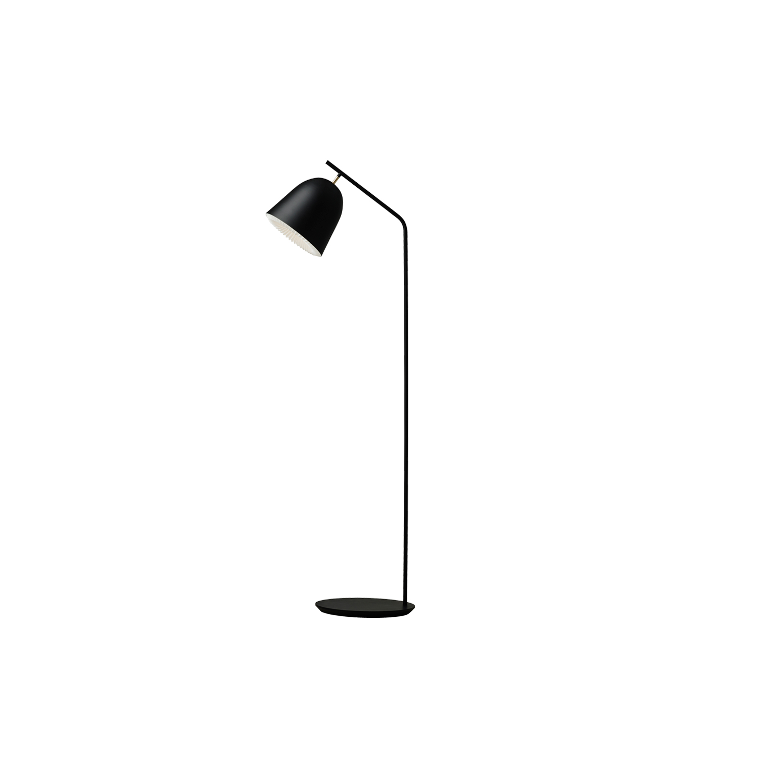 Caché Floor Lamp - CACHÉ means hidden in French. This meaning is beautifully symbolized by the almost hidden hand-folded lampshade that has been elegantly integrated to reveal the unique DNA of a classic LE KLINT lamp.  A sleek contemporary design of five pendants, a table lamp and a floor lamp feature a subtle yet elegant brass detail.  Caché Floor lamp is available in black and grey colour, and the pleated diffuser is in plastic.   | Matter of Stuff