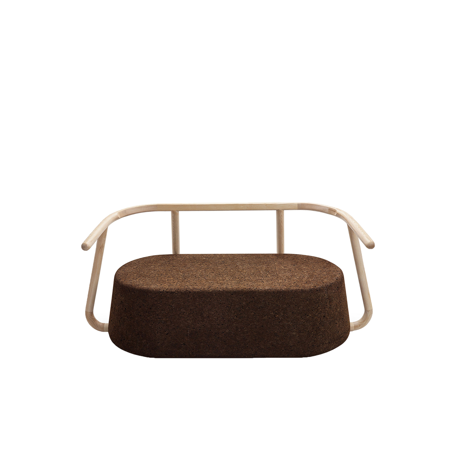 """Ypsilon Sofa - It is only used cork of the branches (falca) for the manufacture of cork granules. These are block clusters in autoclave, being 100% natural process, without use of additives. Technology, developed by Sofalca, consists of injecting water vapour through the pallets that will expand and agglutinate with the resins of the cork itself. This """"cooking"""" gives also dark colour to the agglomerated cork, like chocolate. In the production of steam I used biomass, obtained on milling and cleaning the falca, what makes it truly ecological production and without waste, 95% energy self-sufficient. As a super-material, cork offers so many advantages, because in addition to its excellent thermic, acoustic insulation and anti vibration characteristic, it is also a CO2 sink playing a key-role in the environment. 