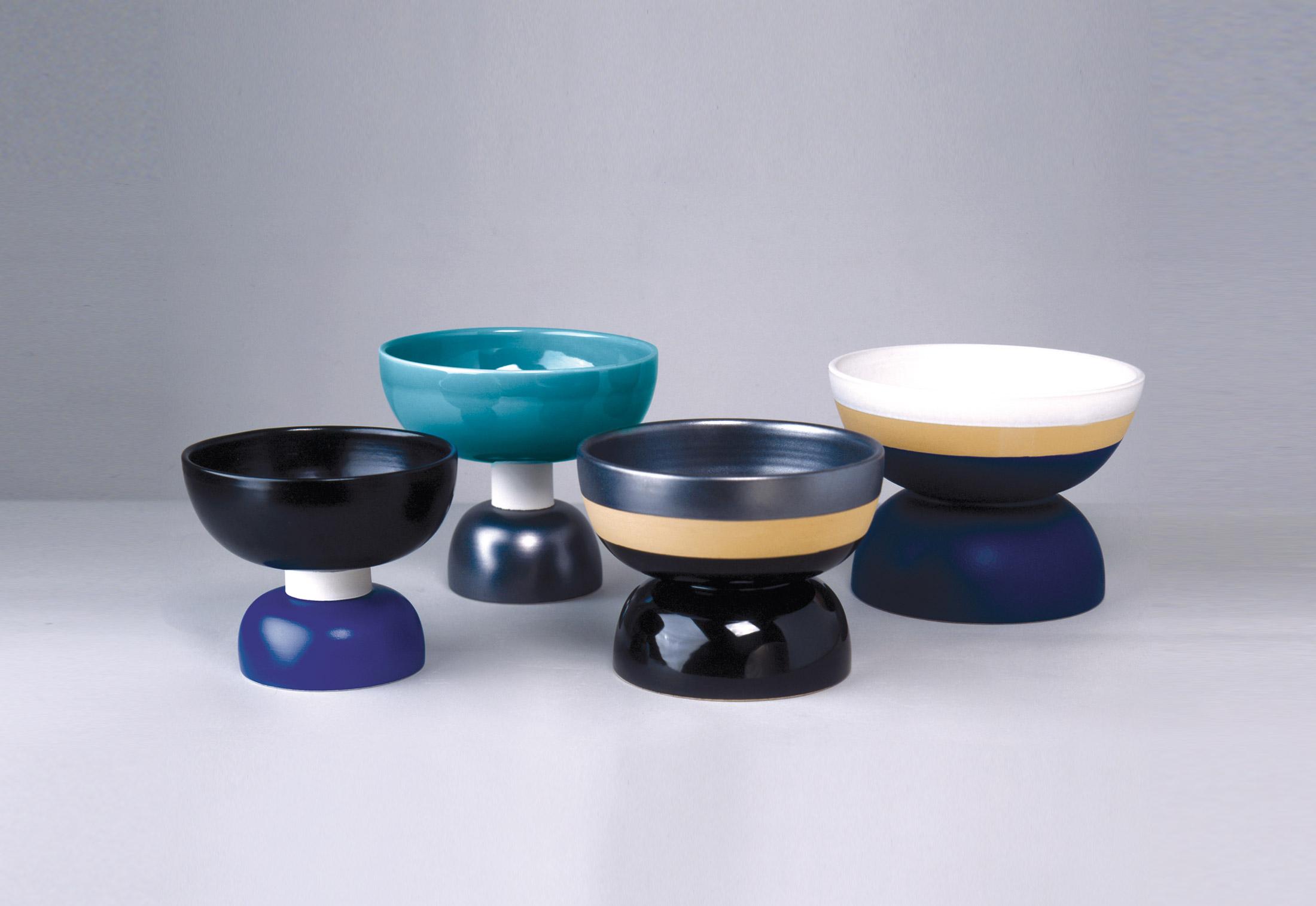 Two-Toned Matt Blue Bowl - Bowl Hand-turned in white clay. Two-tone matt blue and black glaze. | Matter of Stuff