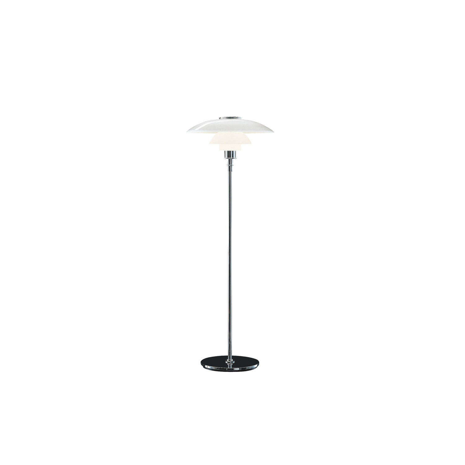 PH 4½-3½ Floor Light - The fixture is designed based on the principle of a reflective three-shade system, which directs the majority of the light downwards. The shades are made of mouth-blown opal three-layer glass, which is glossy on top and sandblasted matt on the underside, giving a soft and diffuse light distribution. | Matter of Stuff