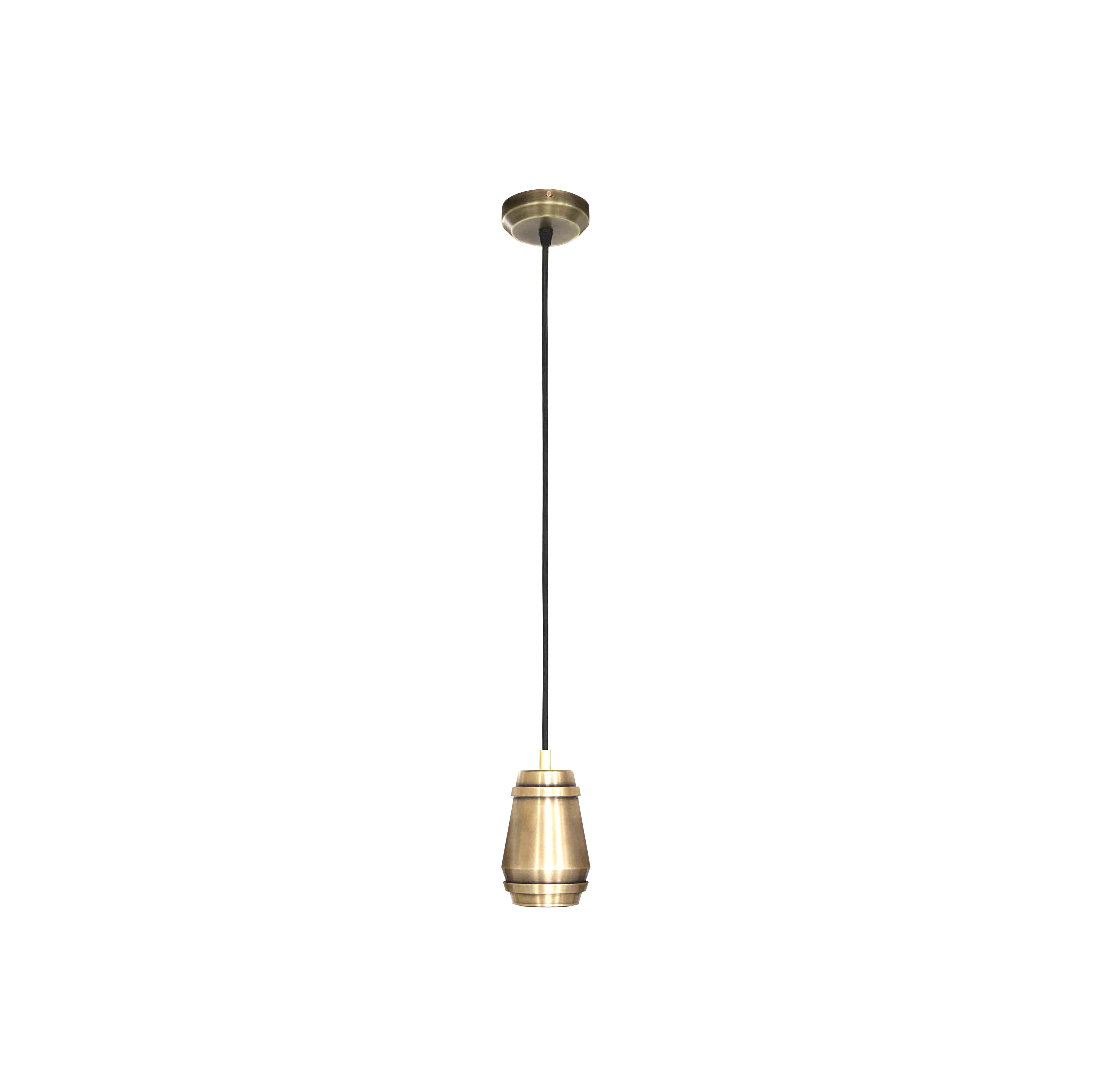 Cask Pendant Light - <p>Turned in brass then finished by hand for a timeless feel, the simple silhouette of the Cask Pendant Lamp produces a warm directional light. A smart addition to any interior.</p>  | Matter of Stuff