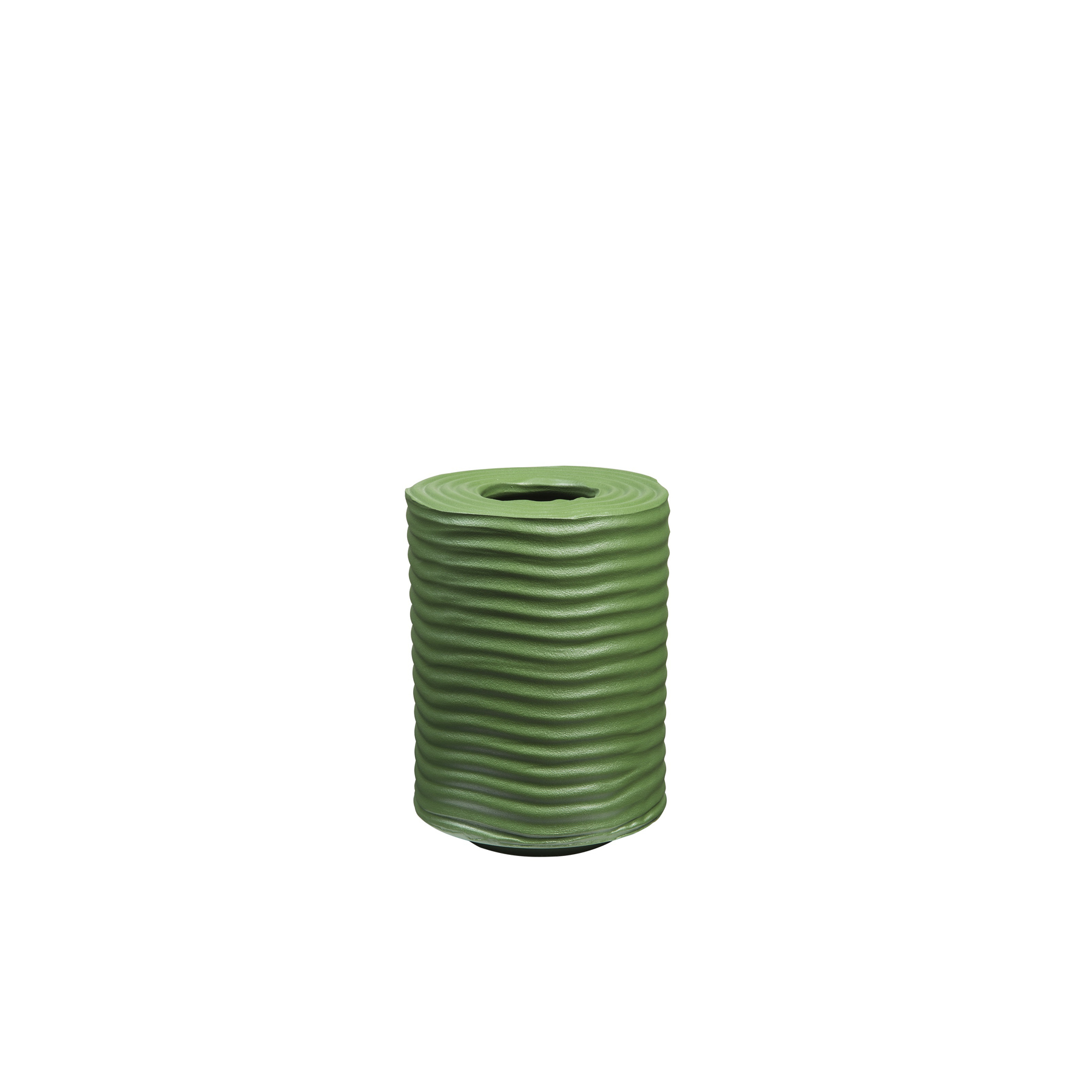 Wiggle Tall Round Vase - This striking vase was entirely crafted by hand in ceramic and it is perfectly suited to a modern environment thanks to its bright and bold green glaze and its glossy finish. This piece features a cylindrical shape of medium height with grooves running horizontally across its surface from top to bottom creating an interesting texture. The mouth of the vase is a slender opening making it perfect for holding a small arrangement of flowers.