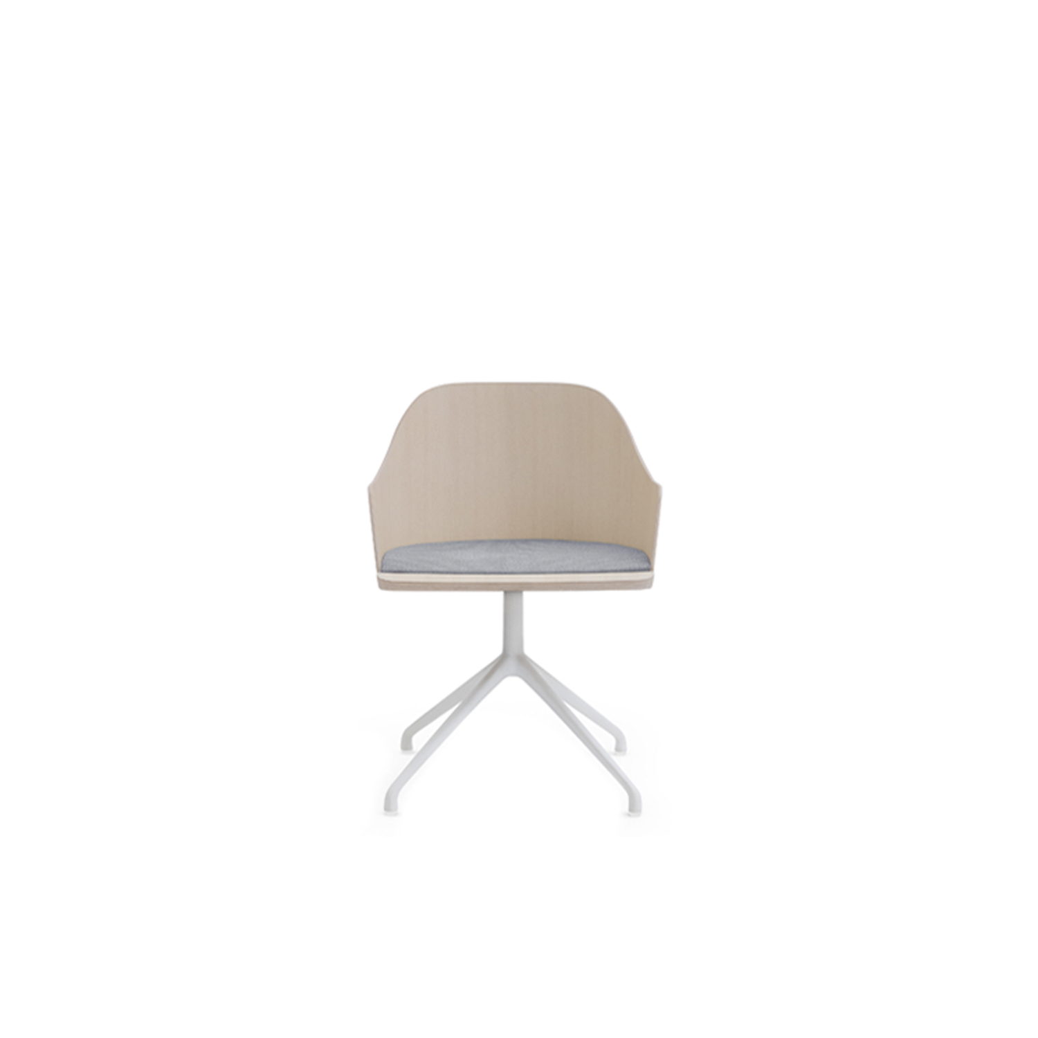 Fitt Swivel Upholstered Armchair - This is the wooden chair as Billiani intends it, direct and timeless. The Valencian designer's intention is for versatility of use and multiple applications, with a striking level of comfort and intriguing proportions. The Fitt Classic collection starts with the light and refined ash chair with plywood shell. Alongside this, are armchair versions with a choice of lacquered metal frames: on four legs, sled, and swivel base. All models are available with wooden or upholstered seat.  | Matter of Stuff