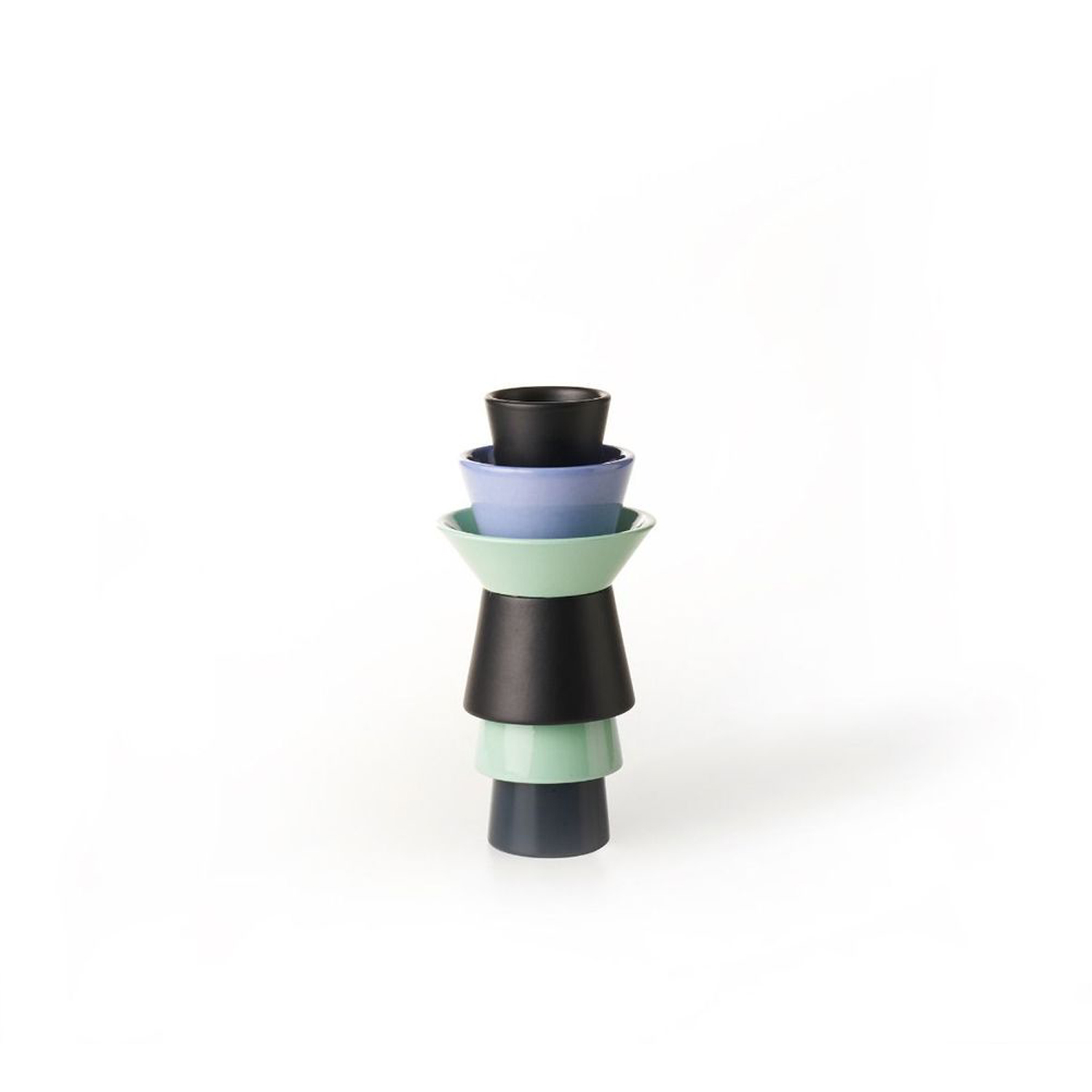 Three-Toned Tubular Vase - Architect Marco Zanini, one of the founders of the Memphis group that designs and produces pieces which are then exhibited in museums and galleries all over the world, has collaborated with Ettore Sottsass since the Seventies and has handcrafted for Bitossi a contemporary and elegant piece.  | Matter of Stuff