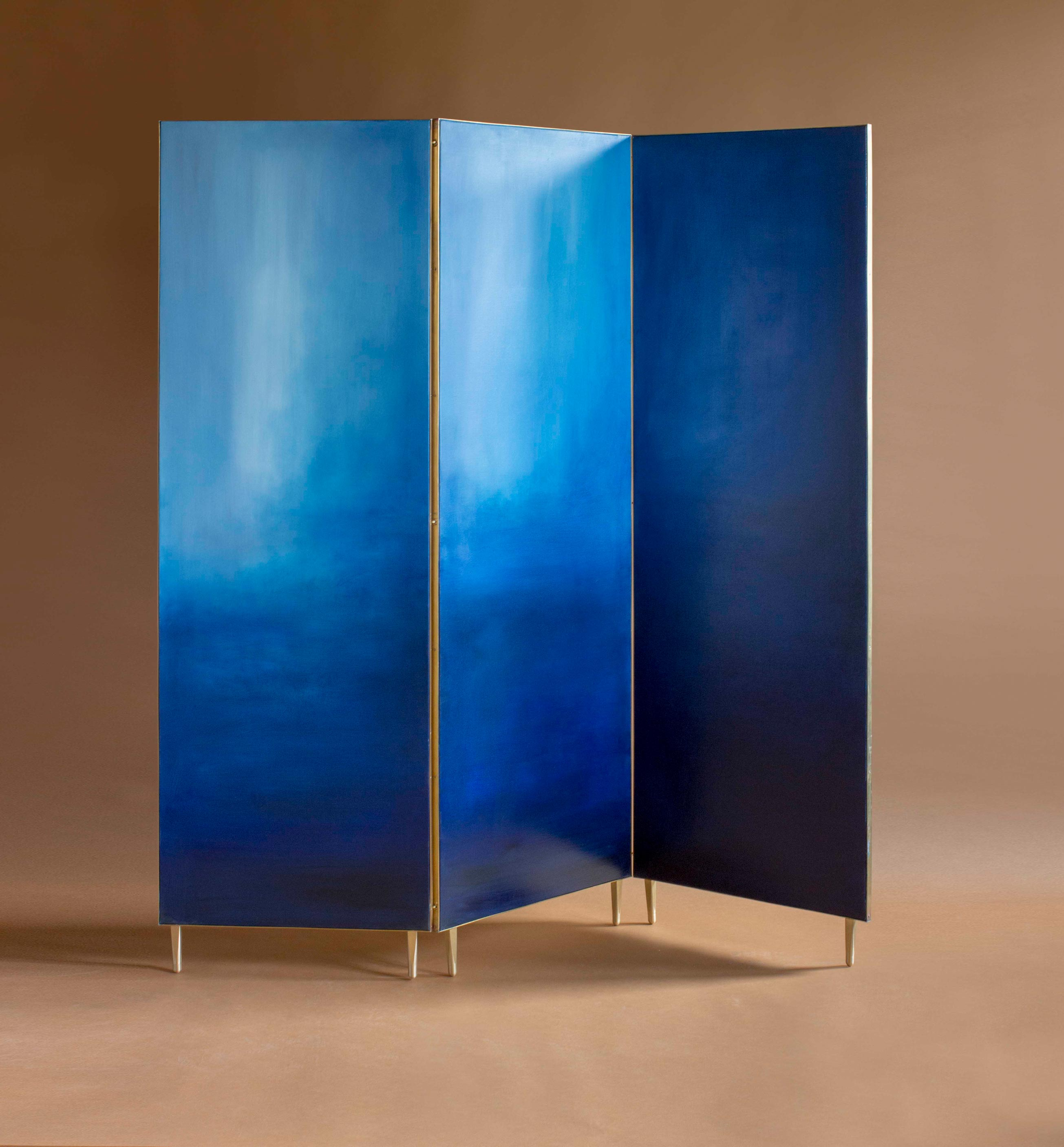 Hand Painted Screen - Hand painted cloth in a full brass frame. It is a delicate solution to divide the space. Each screen is different and unusual because of the painting created by the artist. The screens are available in three different colors.