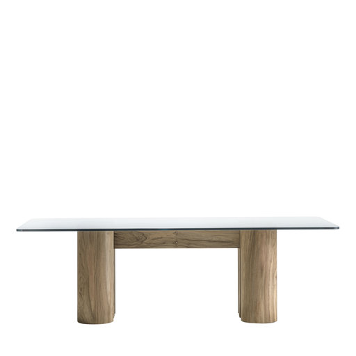 Ionico Dining Table - <p>This modern table has a rectangular silhouette distinguished for its distinct architectural flair. The understated base is made of walnut and comprises four-column legs with a polished finish connected at the centre by a double, U-shaped element. Offering a visually striking touch, the extra-clear crystal tabletop (19 mm thickness) seems to float over the wooden base. An elegant choice for any home, this table can effortlessly transition from classic to contemporary interiors, adding modern-rustic allure to any dining room decor.</p>  | Matter of Stuff