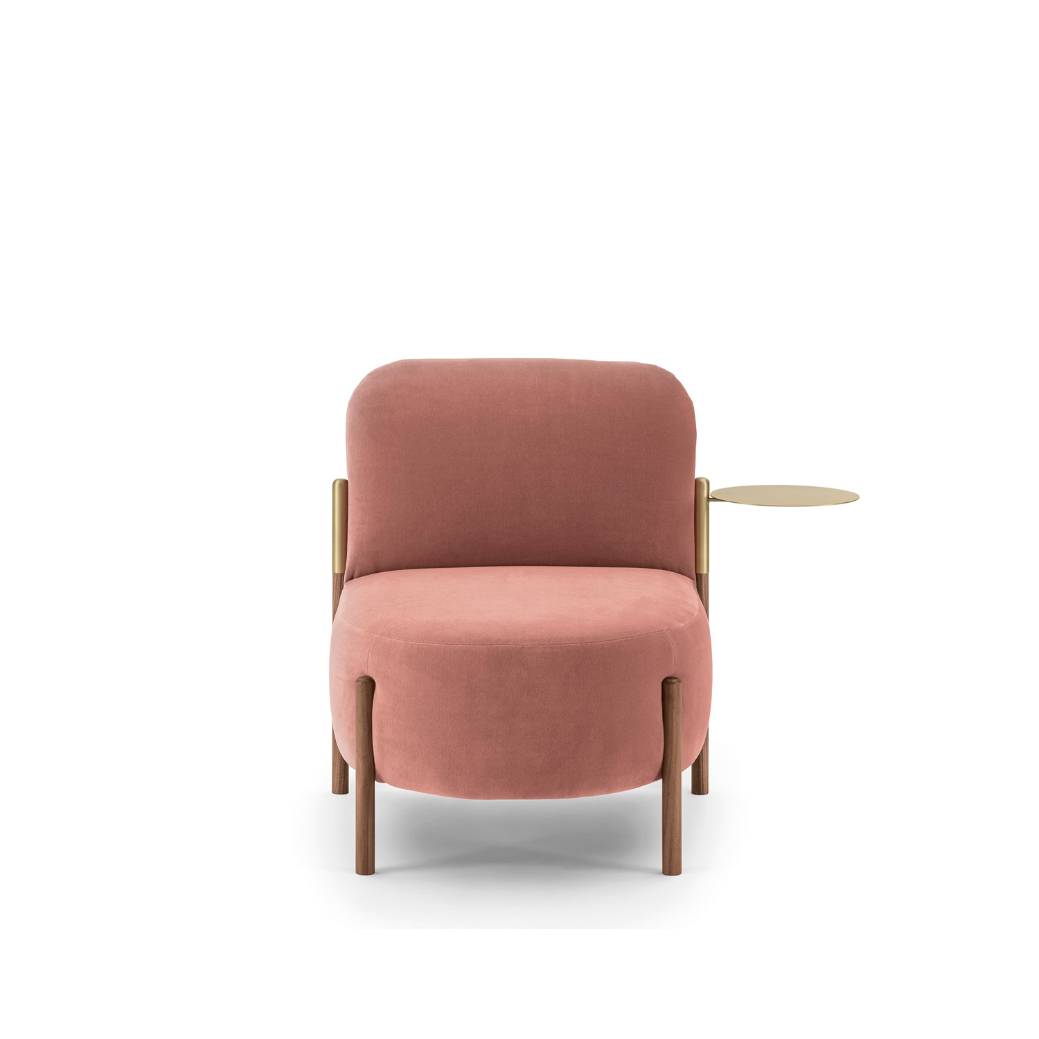 Flag Chair - The range of padded items from Flag collection is enhanced with this armchair with essential and refined lines; like other complements of this family, it is possible to customize it with a rotating tray.   Matter of Stuff