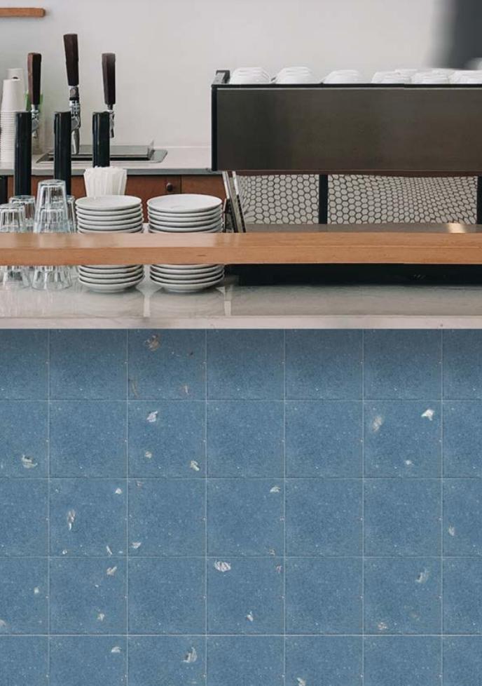 Sandy Blue SeaStone Terrazzo Tiles Square