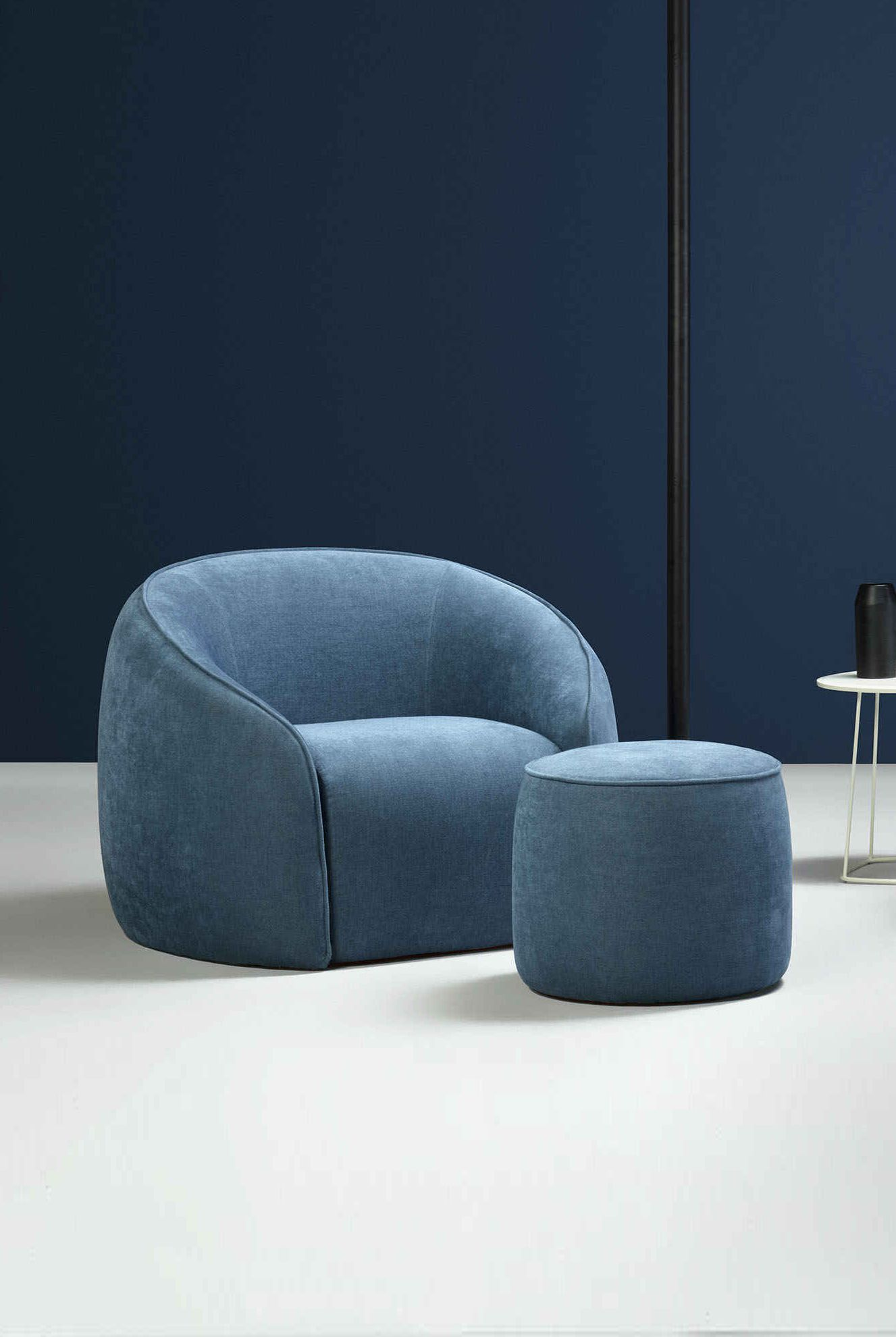 Baloo Armchair - <p>The softly-rounded Baloo armchair is inviting, it pulls you in and holds you there in a soft embrace.</p> <p>The angle-free form lends voice to the fabric, heightening its power of expression and creating the perfect feeling of home sweet home</p> <p>The armchair's internal frame in wood is covered with polyurethane foam of different density and polyester fiber lining. Removable leather or fabric cover.</p>  | Matter of Stuff