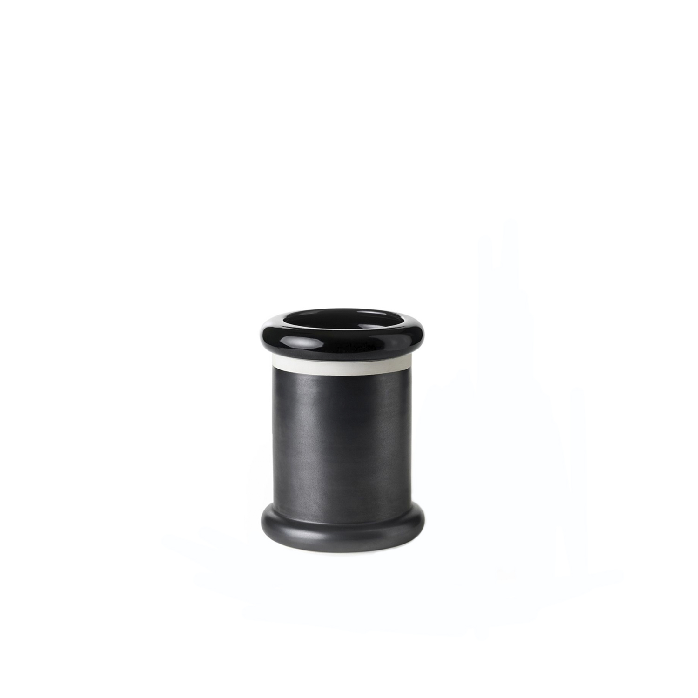 Glossy Black Cylinder Vase