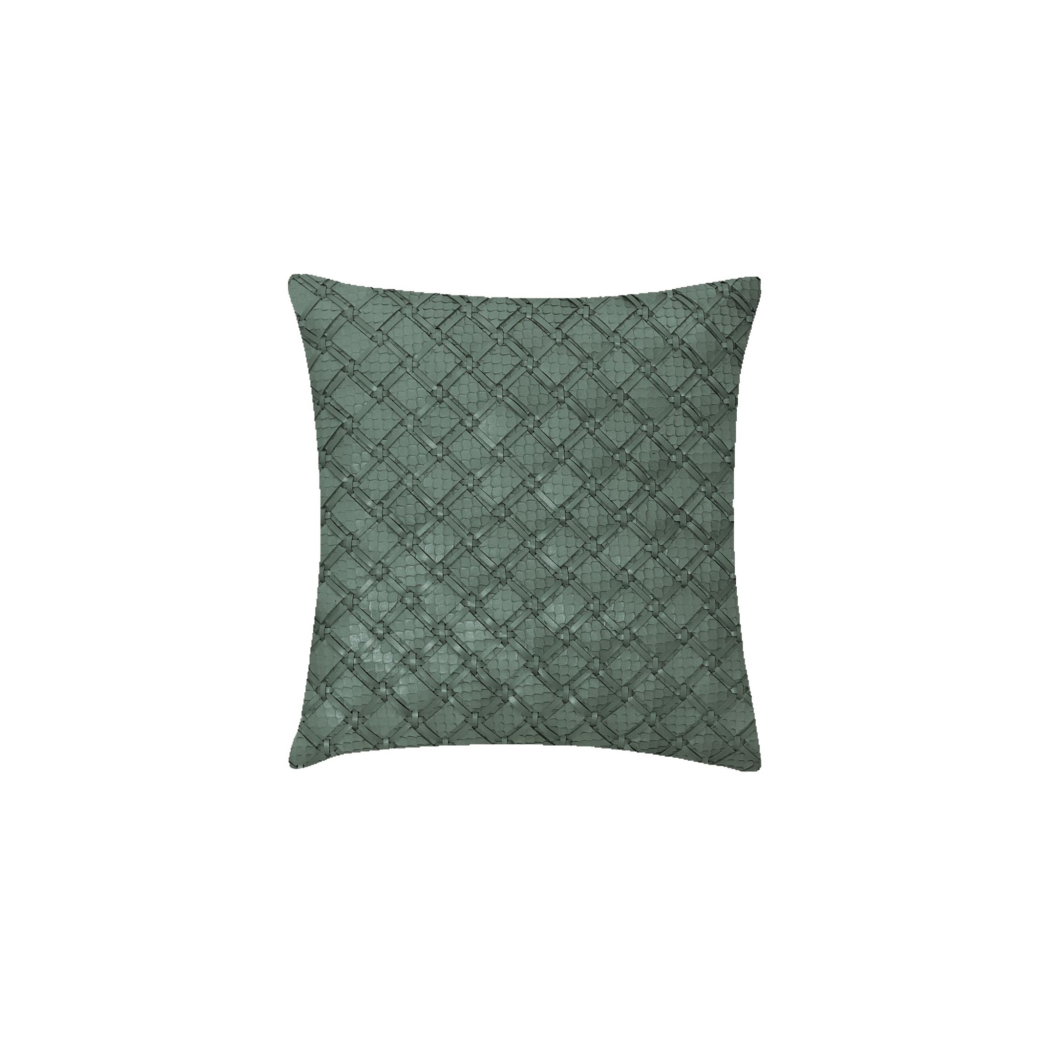 Geometrico Pescado Woven Leather Cushion Medium - The Medium Geometrico Leather Cushion is designed to complement an ambient setting, with a natural and sophisticated feeling. Our woven handmade leather cushions are specially manufactured in Brazil using an exclusive treated leather that brings a soft touch to every single piece. Cushion pads can be customised in a range of ethically sourced feathers, eco-friendly wool and allergy-friendly fibres. Our fillings are sourced for their superior quality and properties to make only the finest quality cushion pads.  Elisa Atheniense Home Cushions are sold in pairs only. Bespoke sizes are also available under project request as well as colours.  | Matter of Stuff