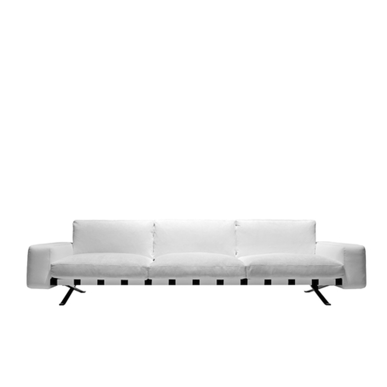 Fenix Three Seater Sofa - The sectional sofa is the theme that has characterized typological design since the 90s of last century. Ludovica and Roberto Palomba confront it, emphasizing the sense of suspension from the ground, thanks to a thin metal structure and developing, in the version with terminals, a great peninsula from the gracefully asymmetric shape. | Matter of Stuff