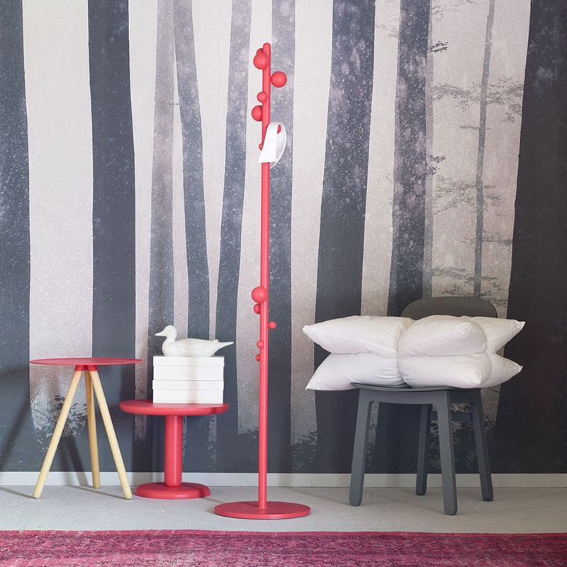Bubble Coat Stand - Small beech wood balls seem to appear from nowhere along a coloured stem, lending the traditional coat stand a vibrant personality. A complementary furnishing item that lives up to your challenges.    Matter of Stuff