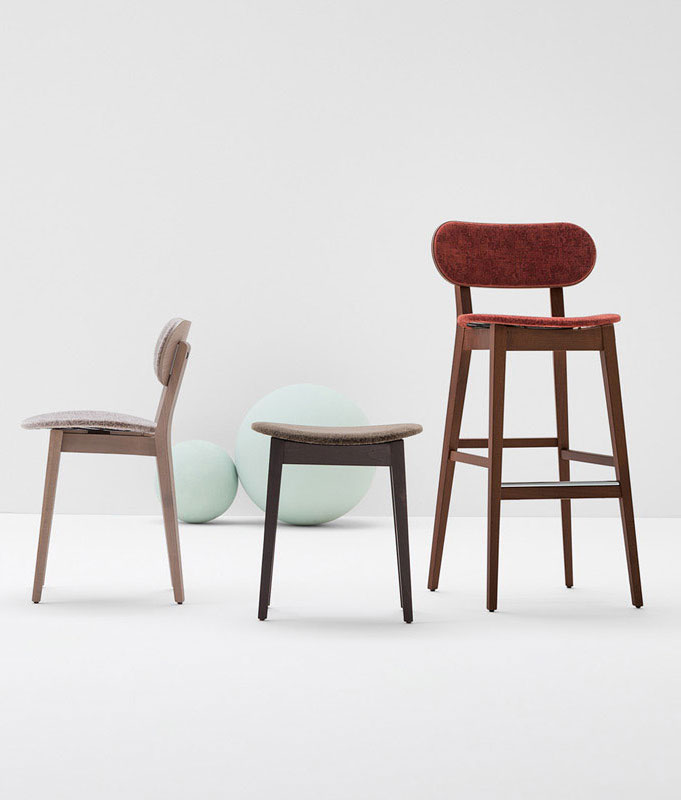 Gradisca Upholstered Barstool - <p>Barstools of various heights and finishes: back and seat are available in stained or lacquered plywood, padded, or in toughened laminate. Gradisca was designed and brought to life for the exhibition dedicated to Maestro Werther Toffoloni, to celebrate his long and happy career. Gradisca reflects traditional, down to earth production values, integrated with modern manufacturing techniques. A collection of resilient, compact and lively seating, available in a wide choice of colours, and adaptable to applications of all kinds. Chairs and barstools with stained or lacquered solid beech frames.</p>  | Matter of Stuff