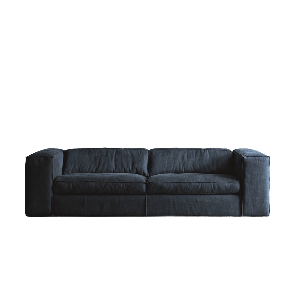 UP Two Seater Sofa - The Up sofa uses a simple mechanism similar to Lego's snap-on system that allows customers to choose the height of the backrest that best satisfies their comfort requirements. The back cushions can be placed on top of the low backrest to create a deeper seat and an overall higher backrest. The particular shape of the cushions ensures maximum stability. The goose-feather padded cushions and armrests create a particularly soft, snug sofa. Also available with raw-edged leather upholstery.  Additional removable cover is available, please enquire for prices.  Materials Structure in solid wood variable-density polyurethane foam coating covered with cotton and polyester fiber 380gr/sqm. The arm padding is completed, on the upper part, by a feather layer. The seat is sprung with elastic straps reinforced with polypropylene. Feet in black PVC 25 mm high. The seat cushions are in washed and sterilized goose down divided into compartments and covered with 100% white cotton fabric with a polyurethane foam core. The black cushions are filled with washed an sterilized goose down divided into compartments and covered | Matter of Stuff