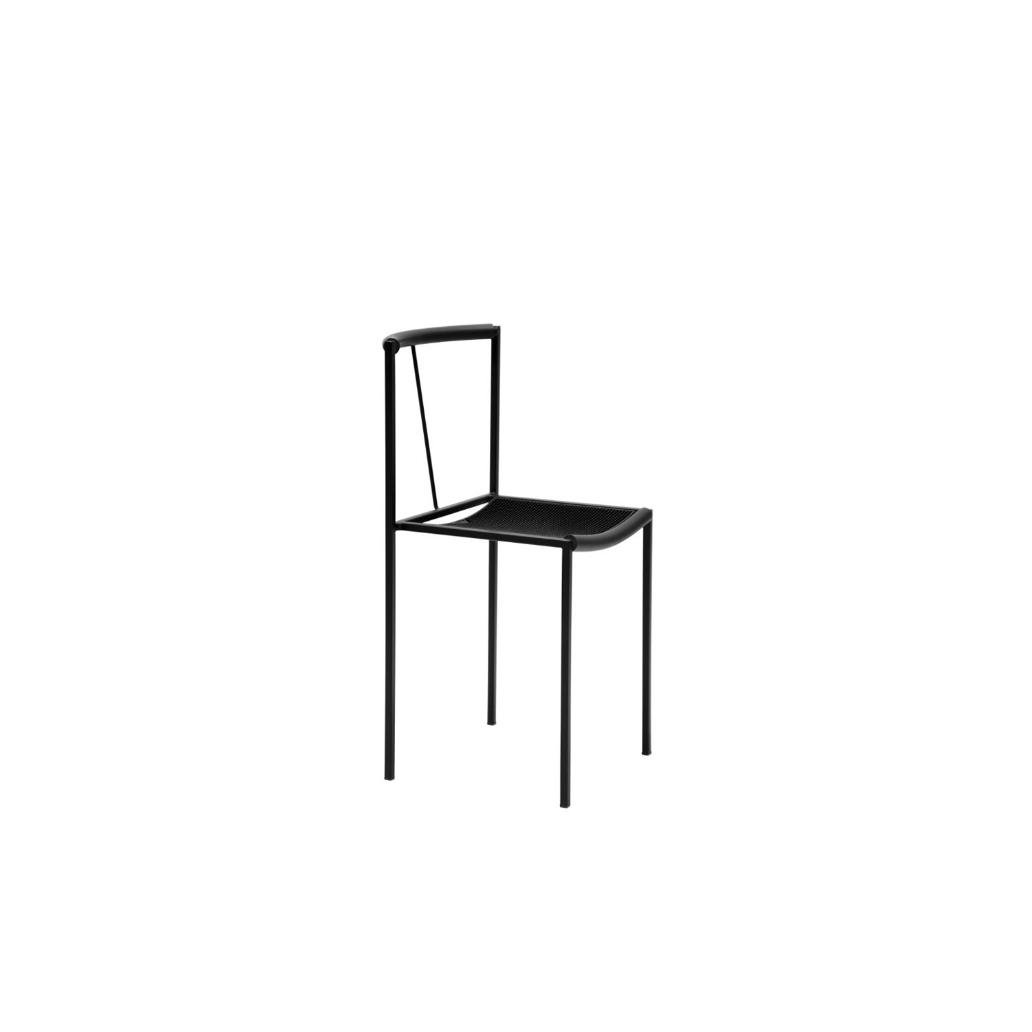 Sedia - Designed in 1984 by Maurizio Peregalli, Sedia is an elegant modernist chair in all black square tubular-steel frame and rubber seating. This chair would look faultless around a dining room table as well as in a hallway