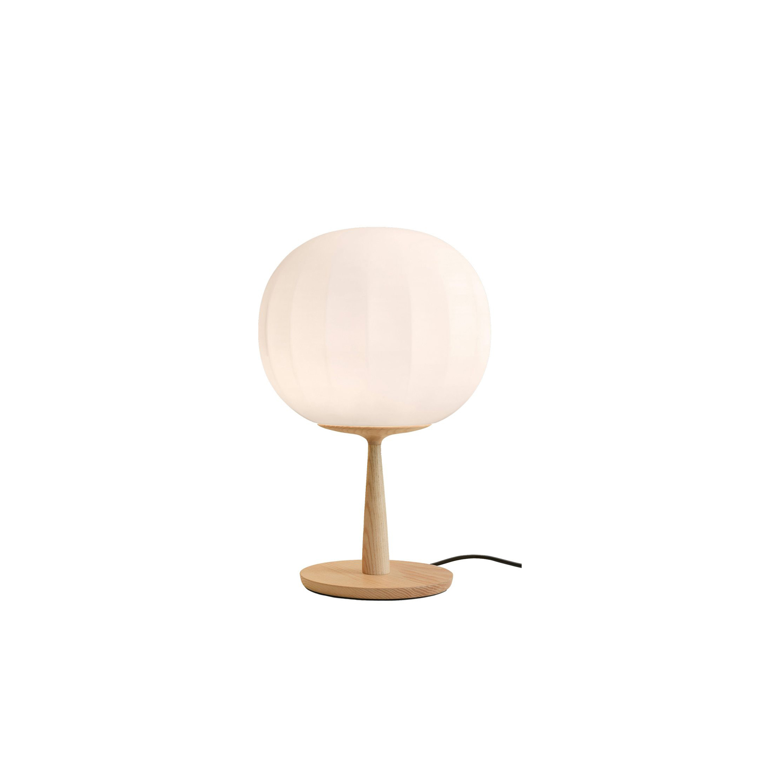Lita Table Lamp  - Lita is a decorative lamps, the result of a delicate design process that mixes imagery, signs, geometric textures and natural materials.  The diffuser in opaline blown glass – whose surface is scanned by the repetition of slight vertical cusps that vanish at the extremities – is combined with a wooden structure, making Lita a product with a forceful material character. | Matter of Stuff
