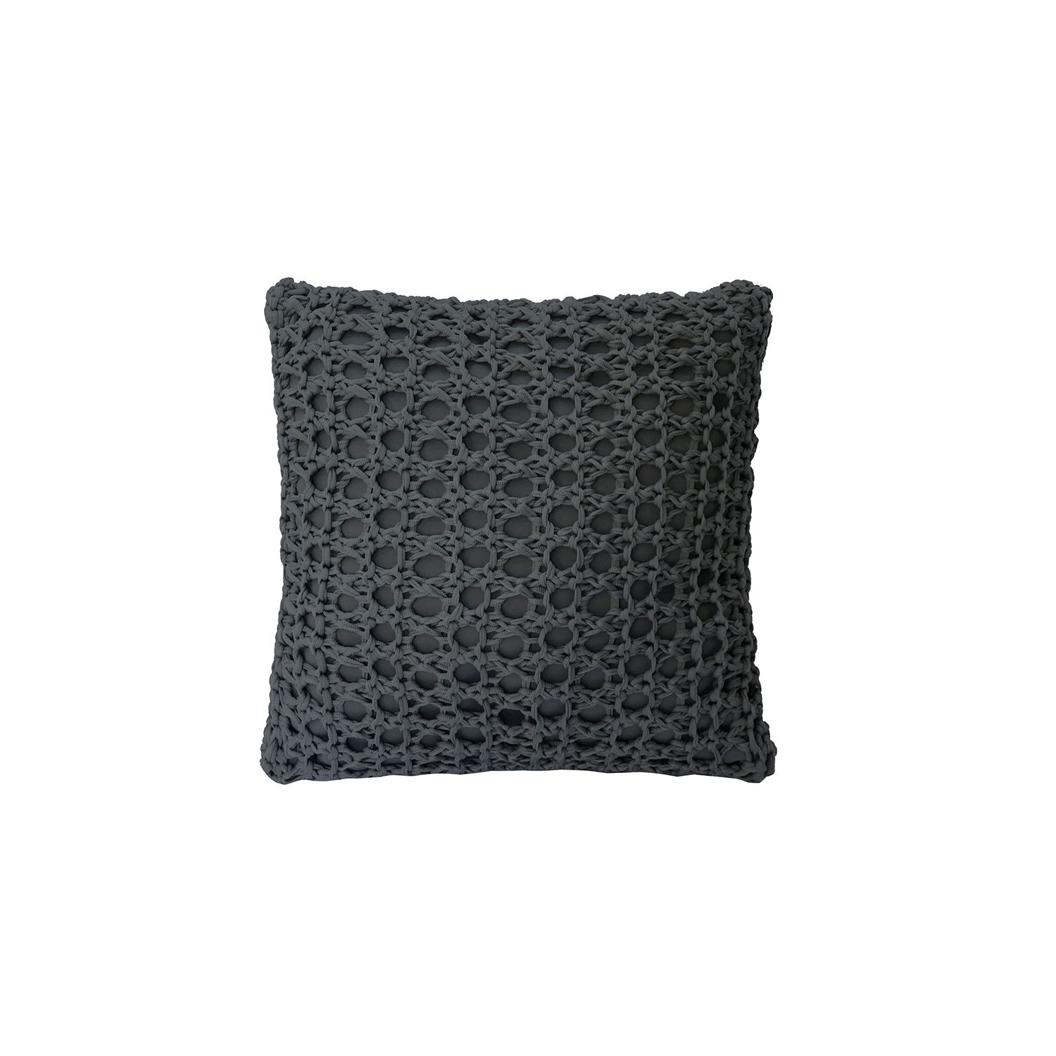 Pescador Neo Cushion Square - The Pescador Neo Cushion is carefully knitted within a trained community of women that found in their craft a way to provide for their families. The outdoor collection is made with synthetic fibres, resistant to weather exposure. The use of neoprene brings comfort and technology to the cushions.  The front panel is in neoprene combined with hand woven nautical cord, made in Brazil.  The inner cushion is in Hollow Fibre, made in the UK.  Please enquire for more information and see colour chart for reference.  | Matter of Stuff
