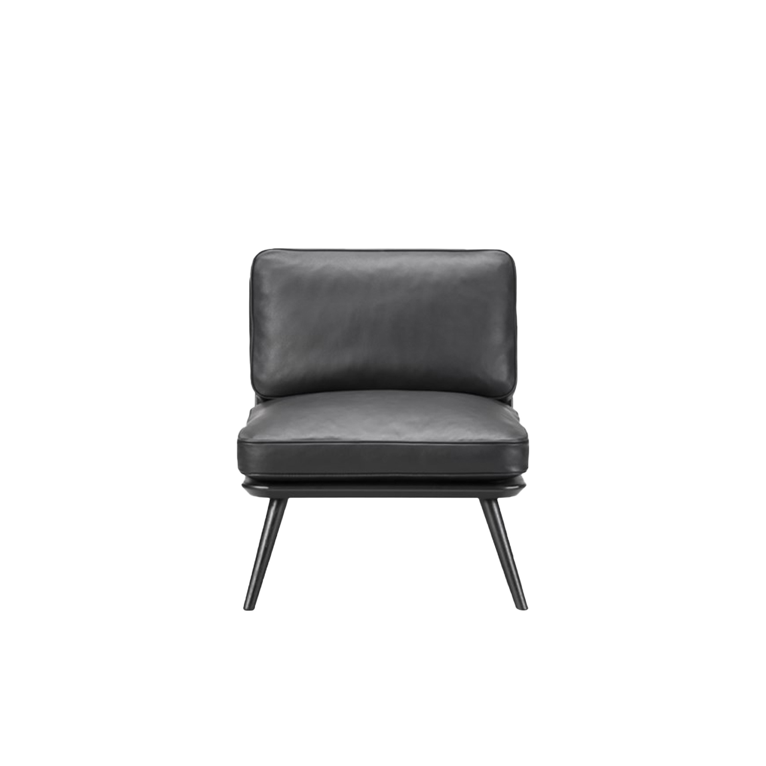 Spine Lounge Suite Chair Petite - Spine Lounge Suite Petit is a light lounge chair for private homes or open lounge areas. The generous use of materials is balanced by its discreet design. The accented detailing on the wooden back makes the chair as beautiful standing mid-room as it is against a wall.  Curved corners, ample cushions and somewhat low to the ground, Spine Lounge is a testament to simplicity as the ultimate form of exclusivity. What began as a Spine Lounge Chair for a Michelin-star restaurant has expanded into an entire series with the same signature approach, encompassing the Spine Lounge Suite, Spine Petit, Spine Daybed, Spine Sofa and Spine Bench. An array of variants that easily lend themselves to all kinds of scenarios in the high-end hospitality and retail sector, as well as private residences.   What they all share is a soft, plush cushioned side for comfort supported by a singular structure in solid wood. Incorporated into the structure are slightly splayed legs at either end, which signal a sense of relaxed informality.   The upholstery draws on Fredericia's signature techniques, with a modern spin. Discrete details on various versions, such as the leather piping around the sides, add to the series' subtle sophistication.   The result is a succinct design that's soft yet solid. Fluid yet structured. Poetic yet purposeful. Able to exude, at a glance, an ambience of elegance.   | Matter of Stuff