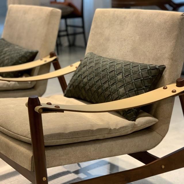 Geometrico Woven Leather Cushion Small