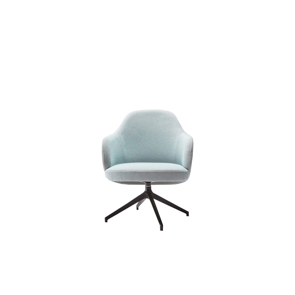 Nantes Swivel Armchair - The strong point of Nantes is the harmony created by the perfect shapes, the well chosen materials and the comfortable and trendy fabrics.  The high curved backrest and the wide seat make this armchair extremely comfort and perfect to be collocated in any place. The matt black metal base makes it modern and versatile for classic or trendy places. | Matter of Stuff