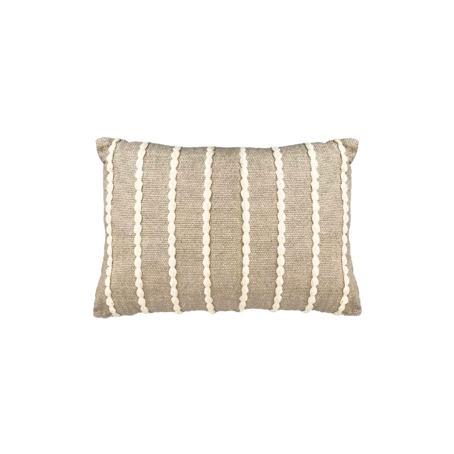 Lua Ecru Cotton Cushion Large - The Flame Sustainable Collection is made from a selection of organic cotton fibres, eco-friendly, hand-woven or elaborated using traditional hand-loom techniques. Carefully knitted within a trained community of women that found in their craft a way to provide their families.  This collection combines Elisa Atheniense mission for responsible sourcing and manufacturing. Each piece is meticulously hand-loom by artisans who practised methods with age-old techniques. With a minimal electricity impact, each item crafted is therefore unique and exclusive. Weavers and artisans are the ultimate lifelines of Elisa Atheniense Home Products.  The hand woven cotton, washable cushion cover is made in Brazil and the inner cushion is made in the UK.   | Matter of Stuff