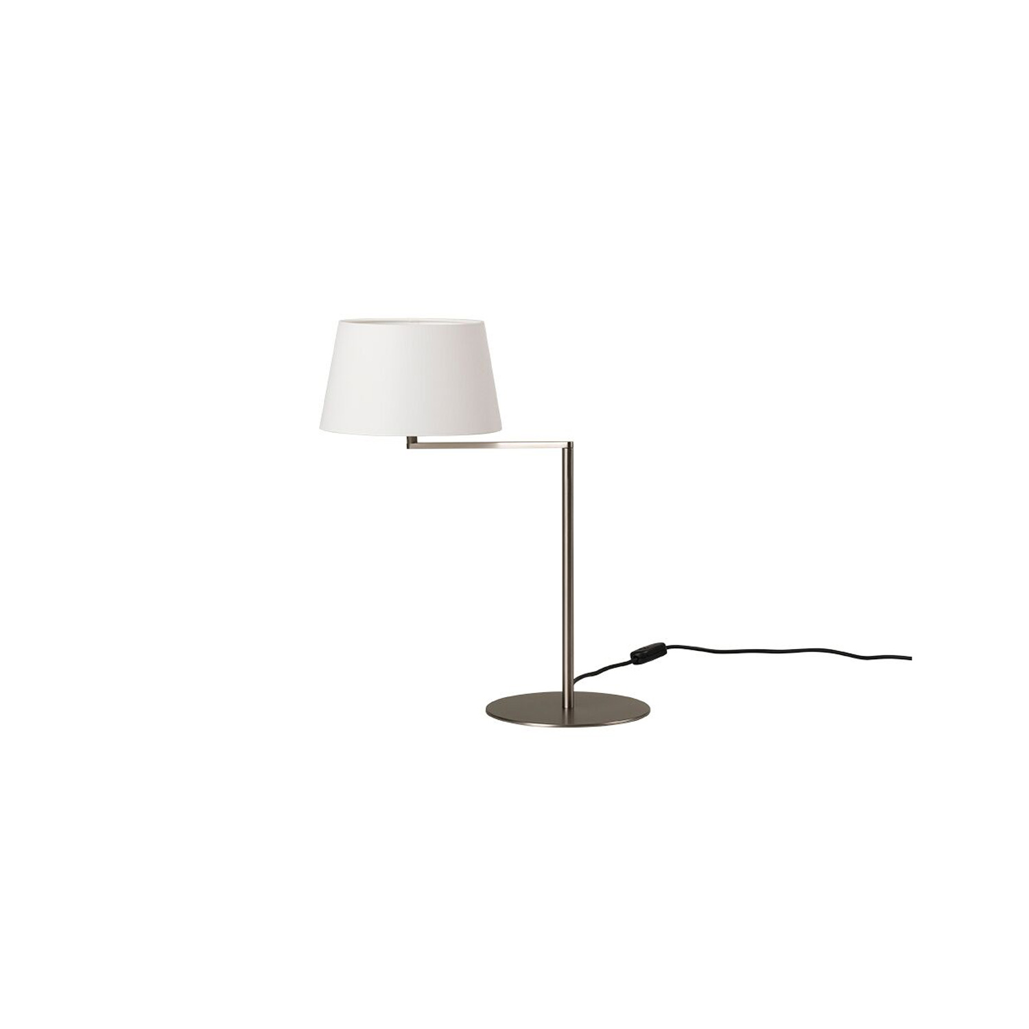 Americana Table Lamp - Enthralled by the idea of enhancing Hansen's remarkable geometry, Milá's Americana series is also based on a swing arm, although here the arm is a single section with a right-angled bend. Accordingly, the head of the shaft becomes the swivel that enables the shades horizontal rotation, reducing the lever effect. The arm can be moved towards you or away from you without shifting the large metal base, evoking the swing motion.  | Matter of Stuff