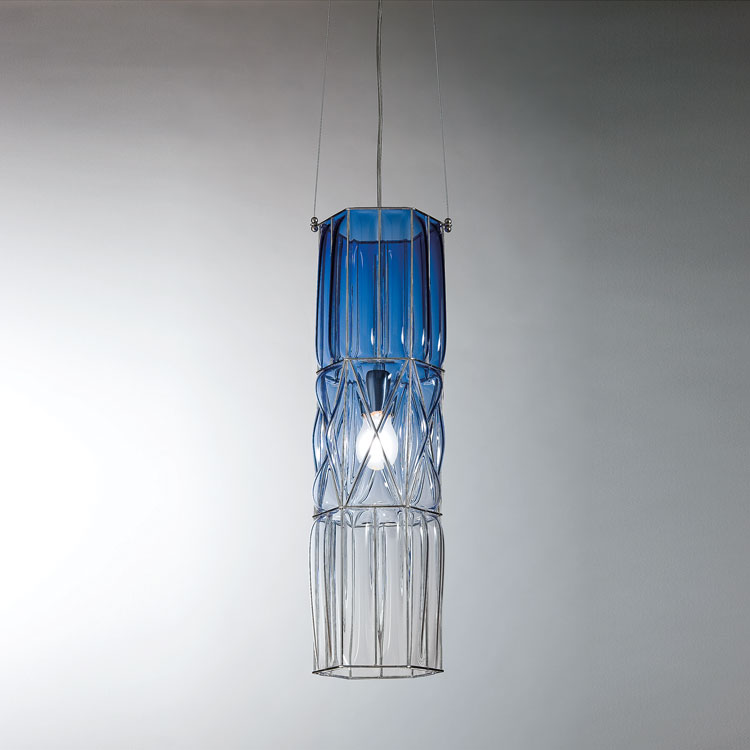 Eclissi Pendant Light - The Eclissi Pendant Light is a classic design with a twist. The metal cage constricts the glass allowing it to hold the shape yet still rise in the gaps. With the option of adding the blue colour it means that it brings rooms to life . This light looks beautiful hung alone but can be suspended in a group to enhance your room. Hand made blown glass suspension with the techniques of the old Murano glass masters. Uses 250V, E27 max 100W ~ IP20 Bulbs (x 1)</p>  | Matter of Stuff
