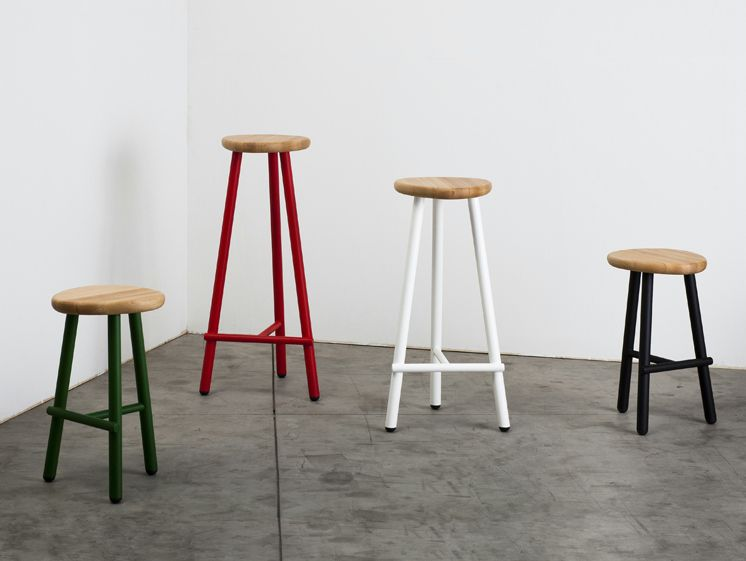Dedo Stool - Dedo features an ergonomic wooden chair that sits on a solid structure made of steel. Available in three heights, it is particularly suited to turnkey projects and island kitchens.  | Matter of Stuff