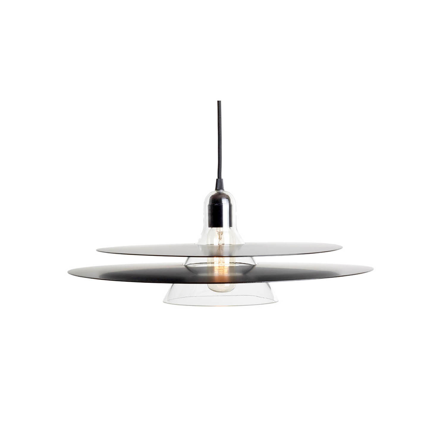 Cymbal Pendant Lamp - Cymbal is a pendant lampmade of blown glass and two slighlyconvexe trays. The chrome versionlooks transparent as it reflects itsenvironment, whereas the black oneoffers a more graphic style.Cymbal can be displayed both aloneor in combination with other Cymballamps to multiply reflections andconfuse perception.  | Matter of Stuff