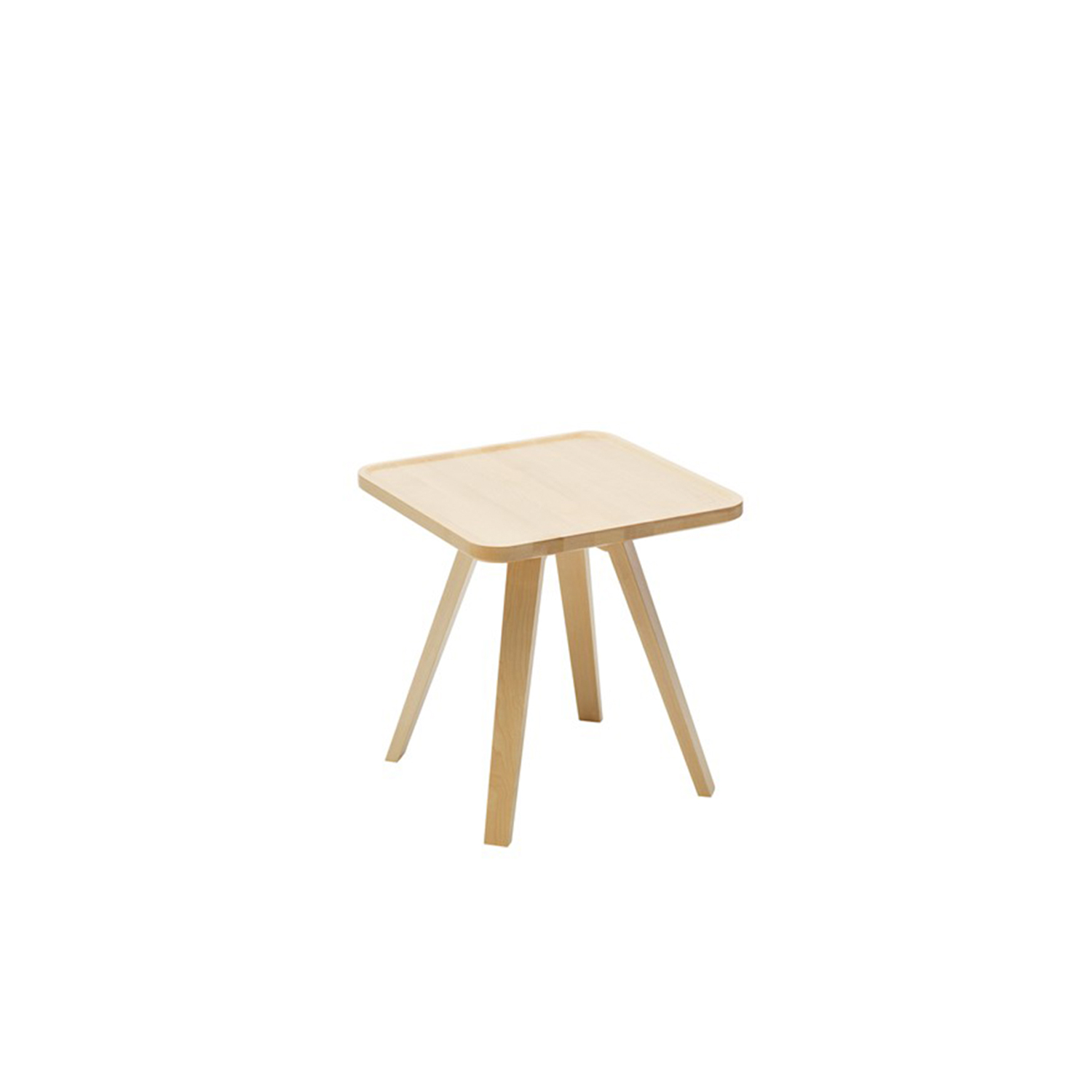 Mill Square Coffee Table - Mill (2012) is a table with a solid wooden top and legs. The tabletop has been milled down to produce its distinctive appearance. Mill is available with a round, square or rectangular top in a number of different sizes and in heights of 460, 590 and 720 mm. The table is made of solid wood, so it can be sanded down and relacquered a number of times, making it suitable for use in settings where it is subjected to a lot of wear and tear.  Mill comes in a choice of oak, birch, ash, standard stains on ash and white glazed oak or ash. The table is also available in standard colors with tabletop made in MDF. Special sizes and other finishes upon request. You can use Mill to furnish cafés, kitchens and living rooms, or in hotels, schools, waiting areas etc.  Additional heights and dimensions are available, please see technical sheet attached and enquire for more details. | Matter of Stuff