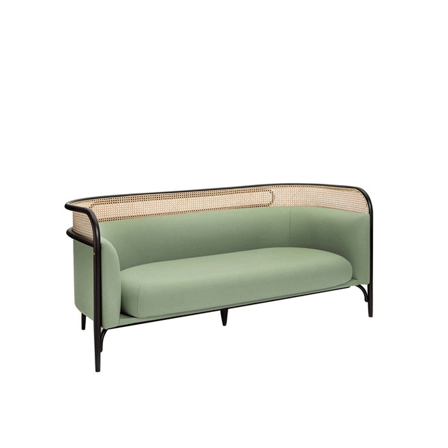 Targa 2-Seat Sofa - Combining the iconic steam-bent beechwood that creates a unique enveloping frame, this sofa was designed by the Italian-Danish designer duo GamFratesi in 2015. Equally stunning in a public space that prefers an intimate effect or as a magnificent statement in an eclectic home, this sofa will be eye-catching. Mixing sinuous curves and straight lines, plush cushions and minimalist accents, this piece will make a statement in any interior.