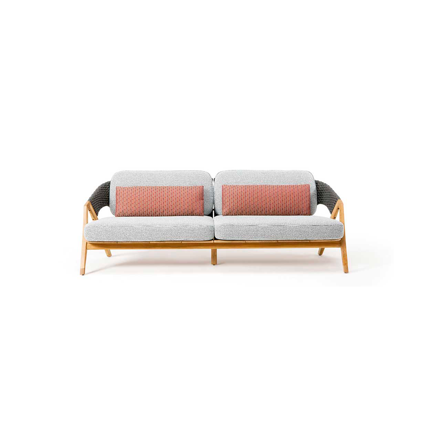 Knit 3 Seater Sofa - Knit is a complete line of tables, chairs and lounge chairs in teak and woven rope that expresses with refinement a perfect synthesis of aesthetics, functionality and ergonomics. The iconic collection is enriched by the new version in pickled teak and light gray rope and the rocking version of the lounge chair with high back, thus offering a new and special interpretation of the classic bergère.  Seat and back cushions available at extra cost. Please enquire for more information. | Matter of Stuff