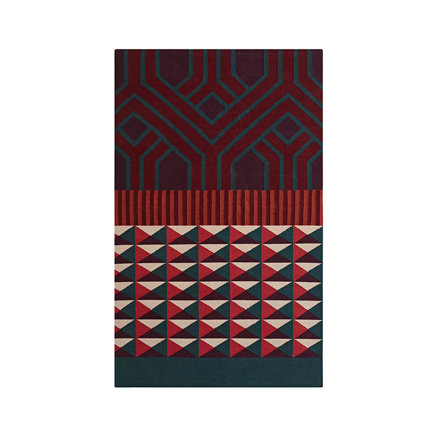 Ndebele Rug - The Ndebele rugs are inspired by the culture of the African Ndebele people, known for their colourful facades. These are traditionally painted by women, who paint and decorate their houses with murals of geometric motifs and bright colours. The Ndebele kilims of ethnic style and contemporary language playfully combine intense tones and rotund designs with the geometry of their strokes. A graphic reading of ethnic roots reinterpreted into a more modern look. Due to the handmade nature of the GAN product, slight variations in size, colour, finish are normal. 