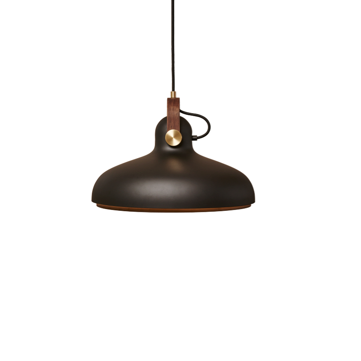 Carronade Large Pendant  - A large modern pendant with a wide opening that directs perfect diffused light for everyday use. Ideal for that perfect dining experience, family gatherings or any desktop activity. Fashioned in the familiar sleek stylings of earlier models, the exact materials have been manipulated to create yet another masterpiece in modern lighting design.  CARRONADE Large comes in a black or sand painted aluminium finish with brass or aluminium metal discs and American walnut or oak details. All models are fitted with LED light bulbs.  The exact manufacturing principles for this beautiful series with attention to detail were used to create this stunning pendant that nestles comfortably among its counterparts. | Matter of Stuff