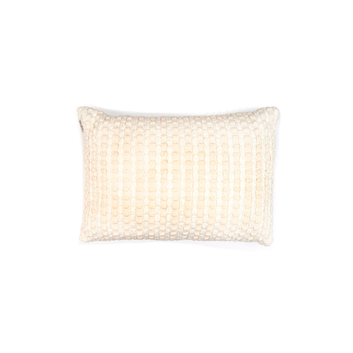 Estrela Branca Cotton Cushion Large - The Flame Sustainable Collection is made from a selection of organic cotton fibres, eco-friendly, hand-woven or elaborated using traditional hand-loom techniques. Carefully knitted within a trained community of women that found in their craft a way to provide their families.  This collection combines Elisa Atheniense mission for responsible sourcing and manufacturing. Each piece is meticulously hand-loom by artisans who practised methods with age-old techniques. With a minimal electricity impact, each item crafted is therefore unique and exclusive. Weavers and artisans are the ultimate lifelines of Elisa Atheniense Home Products.  The hand woven cotton, washable cushion cover is made in Brazil and the inner cushion is made in the UK.   | Matter of Stuff
