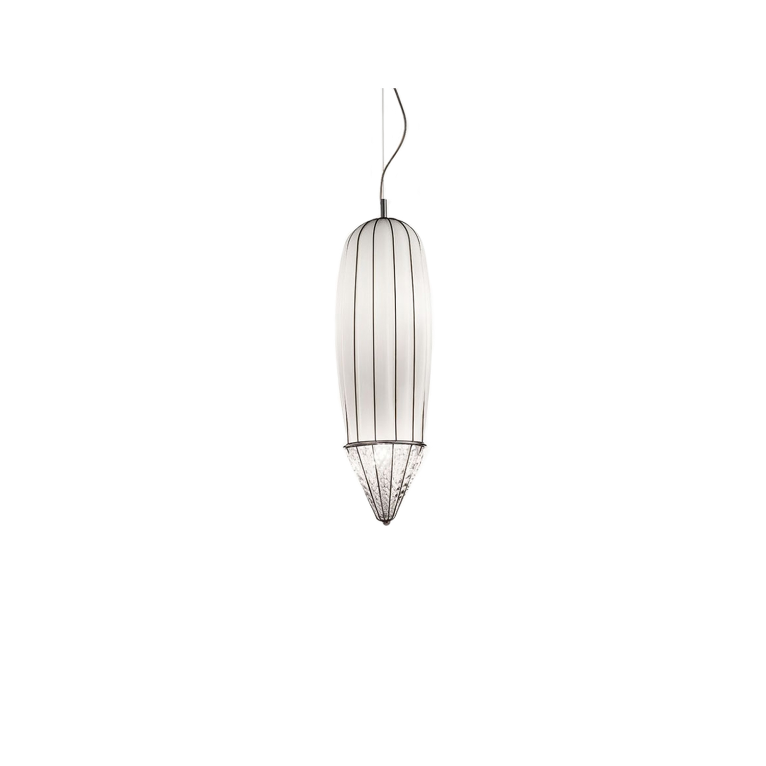 Pencil Pendant Light - The Pencil Pendant Light is, as the name suggests, pencil shaped with a smooth cylinder going towards a point at the end. This pendant light would look elegant in most open spaces and would look perfect hanging in the middle of a spiral staircase. This piece is hand made blown glass with suspension techniques of the old Murano glass masters. This light comes in three finishes: Smooth Milk White, Amber Stacked and Smoke Strike 250V Input. 4X E14 max 40W ~ IP20 Bulbs  | Matter of Stuff
