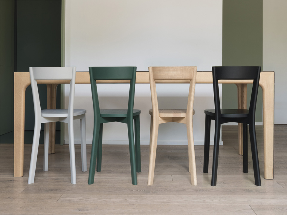 """Mina Chair - <p>A chair made entirely in solid ash wood. Mina is a """"minimal"""" seat, reduced in its proportions – about 10-15 cm less bulk than normal chairs – without sacrificing the elegant form that suggests the style of certain seating designs by Gio Ponti. The design research has focused on keeping the right balance of form, size and comfort. Mina is one of those products that are created to be of true """"service,"""" performing at their best in tight spaces, as is often the case in French bistros, where space is exploited to the utmost to squeeze in the largest possible number of customers. Certain constructive details give the chair a unique character, including the very precise relationship between the back and the rear uprights (in which the back is completely enclosed), and the colour variations specified with extreme care by the designer.</p>  