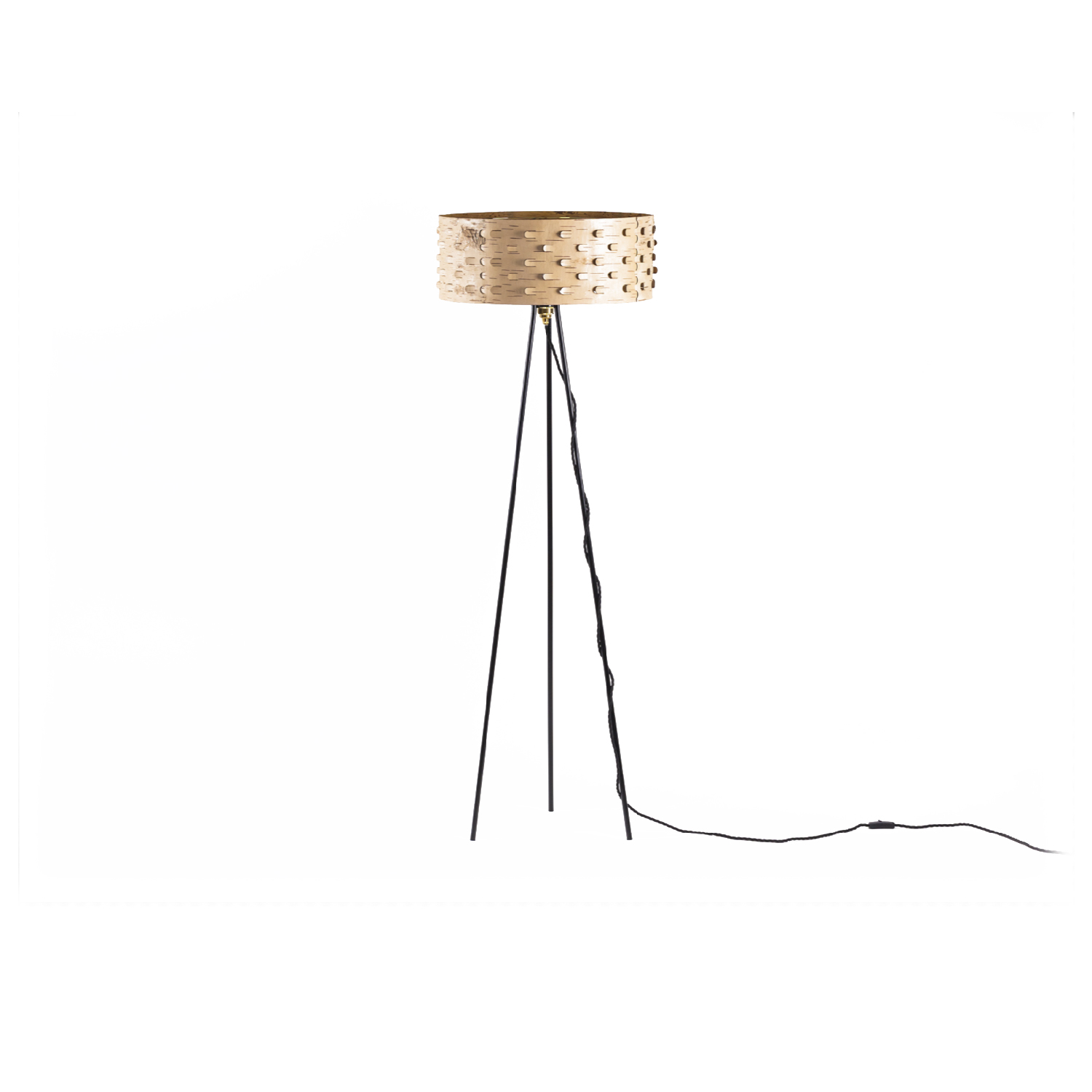 Svetoch SS50 Floor Lamp - A traditional glue-free plug technique is combined with a modern laser technique which allows the light to shine through the lampshade in a playful manner. Svetoch is great at setting the mood and ensuring a cosy and intimate ambience. The lamp comes in three sizes, each available both as a pendant and floor lamp.  Unlike in traditional craftsmanship, we make our products from the naturally velvety back of the birch bark. We deliberately chose the lighter inner layers of the bark to celebrate the graphic grain and colouring of each piece. Every object is thus one of a kind, representing a unique product of nature, which is emphasised by contrasting colour accents. High quality is ensured by elaborate craftsmanship and careful material selection. | Matter of Stuff
