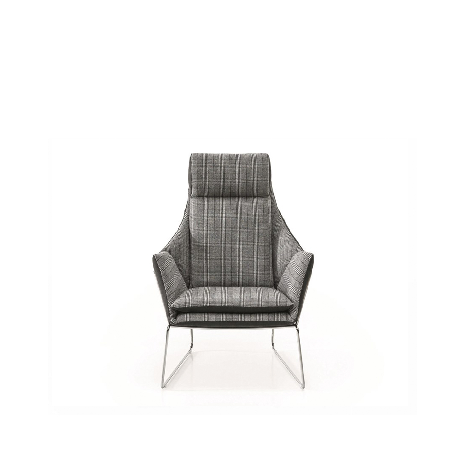 New York Bergère Lounge Armchair - The same frame as the New York armchair boasts the comfortable upholstery of the bergère. The classic function of the armchair for reading or relaxing is ensured by the height of the back, the comfortable headrest and the elegant pouf. An unbroken link with tradition interpreted in a contemporary style with a sophisticated lightness. Fully removable covers.  There is a matching pouf that can be purchased called the New York Bergere Pouf.   Additional removable cover is available, please enquire for prices.  Materials Structure in 12 mm wire drawn. The seat is in perforated sheet metal. Chrome or painted finish. Inner pad and seat cuchion are in 50IP polyurethane foam; back and headrest cuchions are paded with 21IM and 25IM polyurethane foam. All is covered with white cotton fabric on 380gr/sqm polyester fiber. | Matter of Stuff