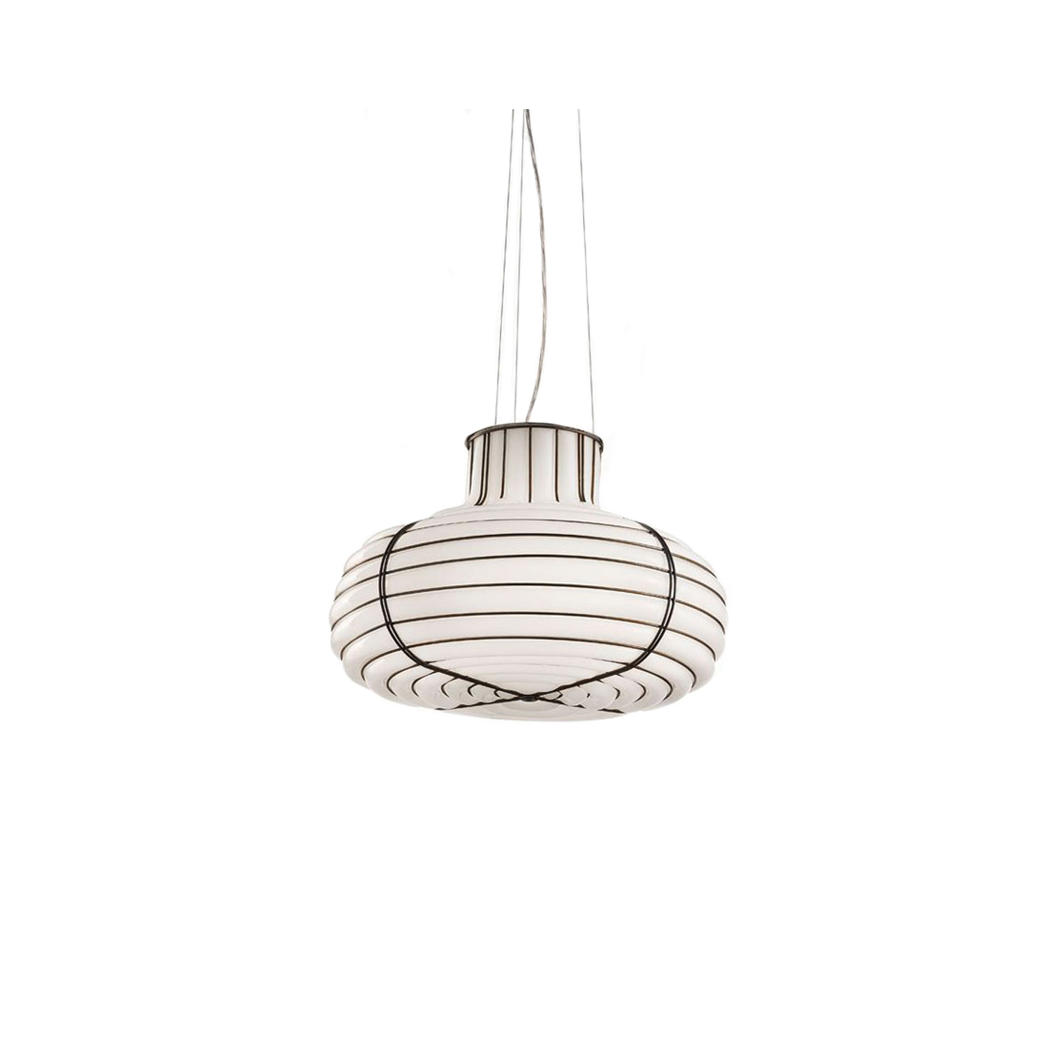 Chapeau Suspended Light - The Chapeau Suspended light is a similar design to the Chapeau Table Light, however, this light is suspended from the ceiling. It looks great either alone or in a two or three over a breakfast bar. This light comes in a smooth milk white finish and in two sizes. It is hand made blown glass suspension with the techniques of the old Murano glass masters.  | Matter of Stuff