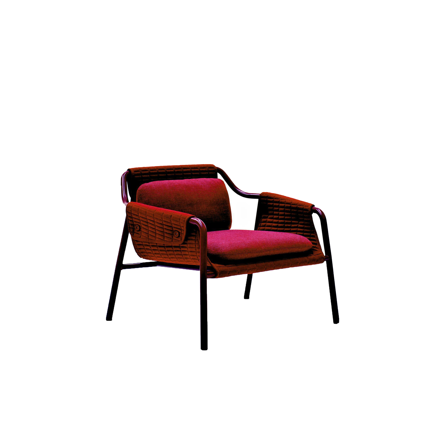 Jacket Armchair  - Drawing evident inspiration from the fashion world, Jacket armchair now appears in a renewed version, with revamped sartorial details and new colours for its sleek and slender metal frame. The quilted fabric, in addition to dressing the piece, forms its soft, cosy shell, with edging reminiscent of a jacket lapel. Two cushions add a sense of snug comfort.