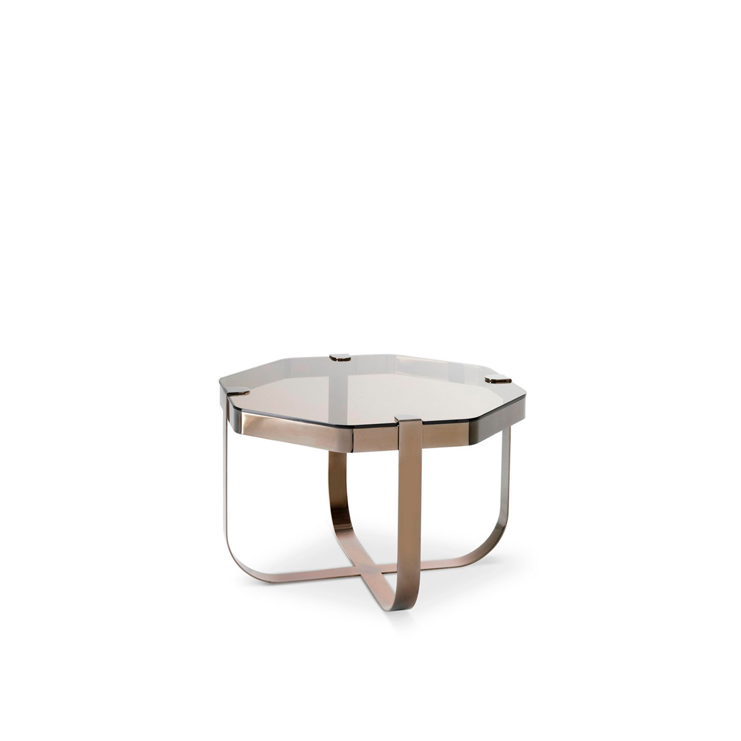 Ring Octagonal Coffee Table - Elegant like jewellery, the Ring coffee tables are inspired by raw cuts of precious stones prior to being mounted into rings. The choice of materials is aimed to emphasise this inspiration behind the collection. The metal base structures are available in copper, brass, steel and nickel, each of which corresponds to a geometric form. Like in jewellery design, the glass tops in transparent or light colours are literally set onto the base structures.  Finishing: Round coffee table polished copper structure - smoked glass top; Square coffee table satin finished brass structure - extra clear glass top; Octagonal coffee table black nickel structure - bronze glass top; Oval coffee table clear chrome structure - sea water glass. | Matter of Stuff