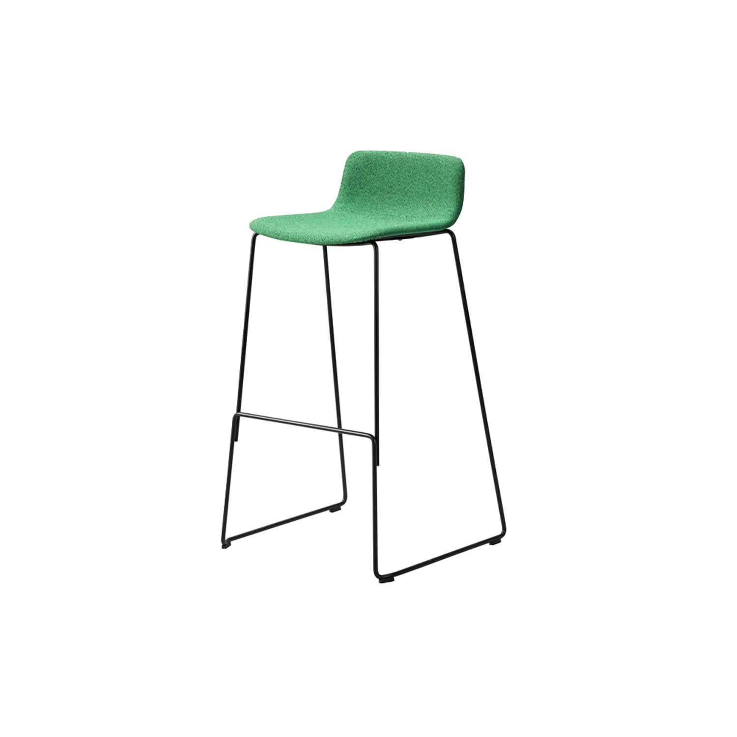 Pato Sledge Stool Fully Upholstered  - Pato is a carefully crafted multipurpose chair in eco-friendly polypropylene that can be used outdoors. The chair is available with a range of optional features including coupling. The chair can be tuned from basic to exclusive with optional upholstery.  Pato is a prime example of our focus on sustainability and protecting the environment, reflected in a chair that's 100% renewable and recyclable. All components can be incorporated into future furniture production, thus contributing to a circular economy by minimising the use of materials, resources, waste and pollution.   Merging traditional production methods with cutting-edge technology, Pato is a human-centric, highly versatile series of multi-purpose functional furniture that draws on our in-depth experience with materials, immaculate detailing and heritage of fine craftsmanship. Allowing us to apply our high standards of texture, finish and carpentry techniques to an array of materials in addition to wood for products aimed at a mass market.   With its clean lines and curves, Pato echoes the ethos of Danish-Icelandic design duo Welling/Ludvik. Demonstrating their belief that good design has the ability to be interesting, even when reduced to its most simple form. Where anything extraneous is eliminated and every detail has a purpose.   Together we spent nearly three years developing the shell structure to have a soft surface that's also wear and tear resistant. Enhancing the chair's ability to optimally conform to the user's body is a subtle beveled edge. A technique from classic cabinetmaking, which gives the chair a sense of handcrafted finesse. Each Pato is detailed and finished by hand by our highly skilled crafts people, who refine the beveled edge and the silky, resilient surface. Setting a new standard for the execution and finish of polypropylene.   Since the success of its initial launch, we've expanded Pato into an extensive collection of variants, featuring arm